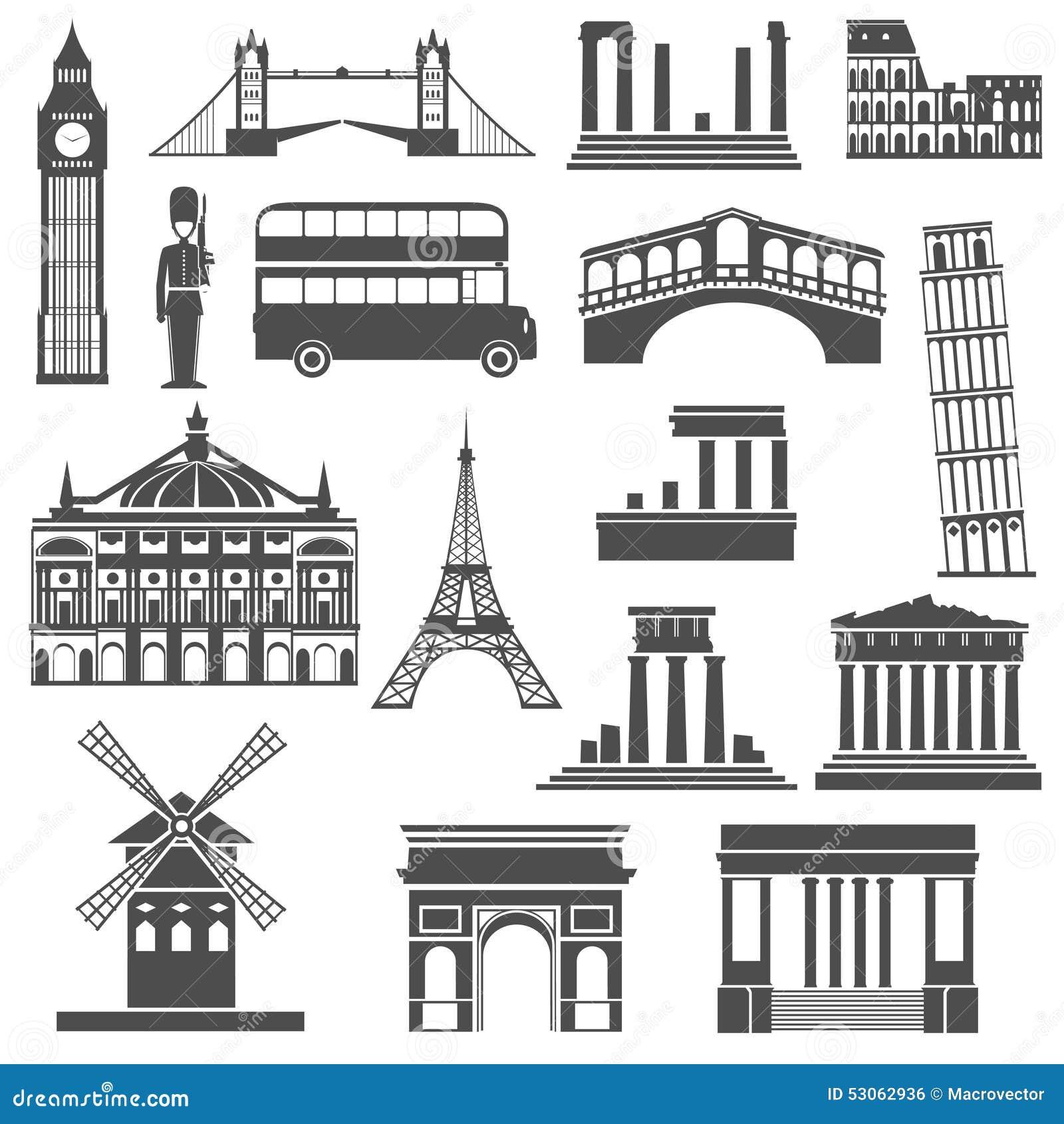 Travel Landmark Black Icons Set