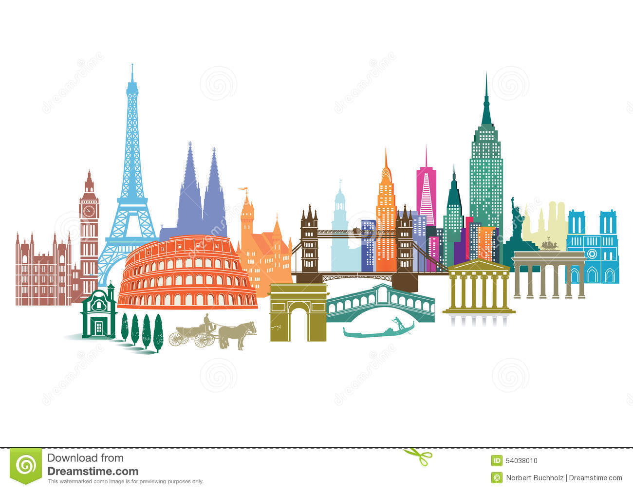 Travel landmarks stock vector image 54038010 for All around the world cruise