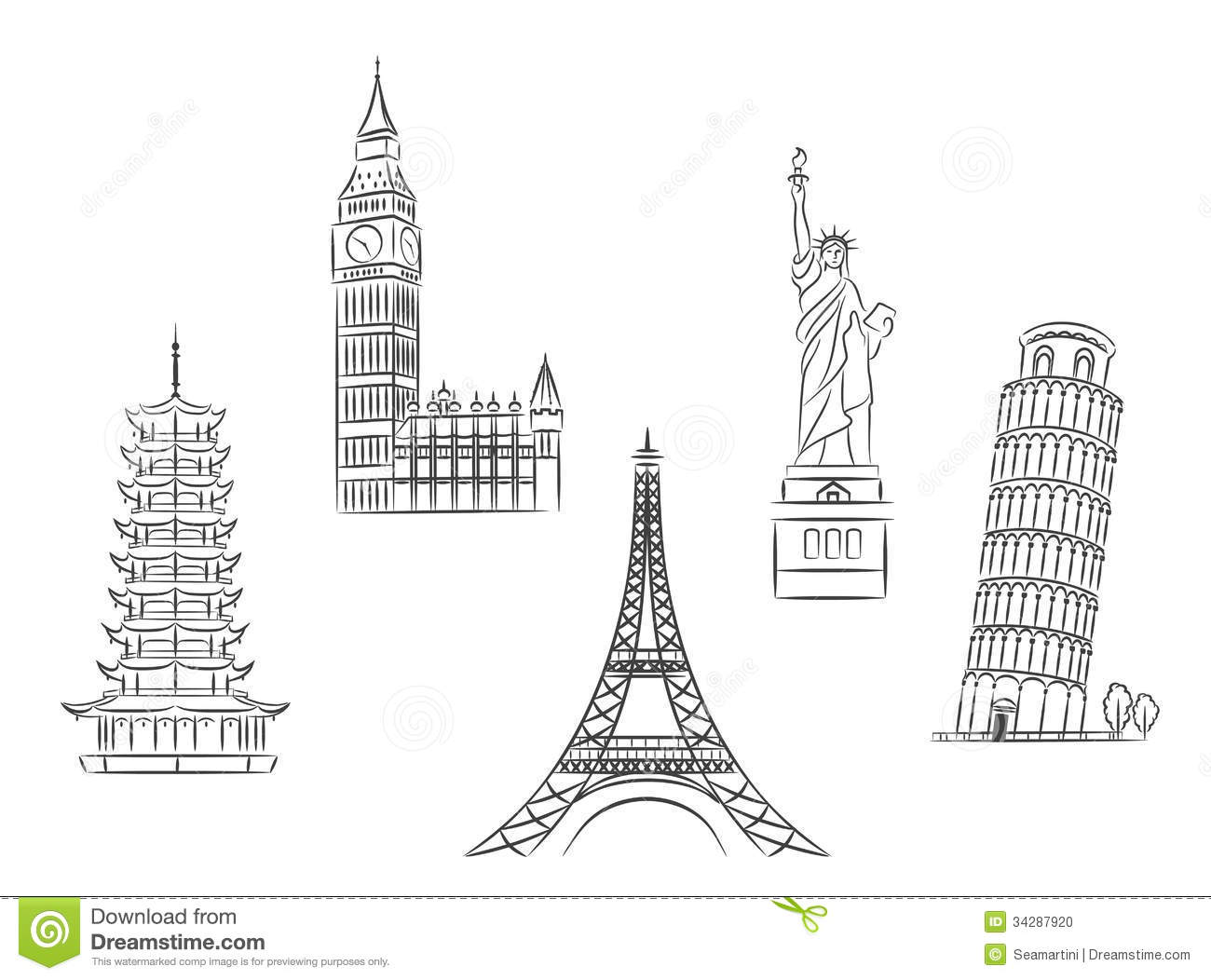 Travel Landmarks Set Stock Photo Image 34287920