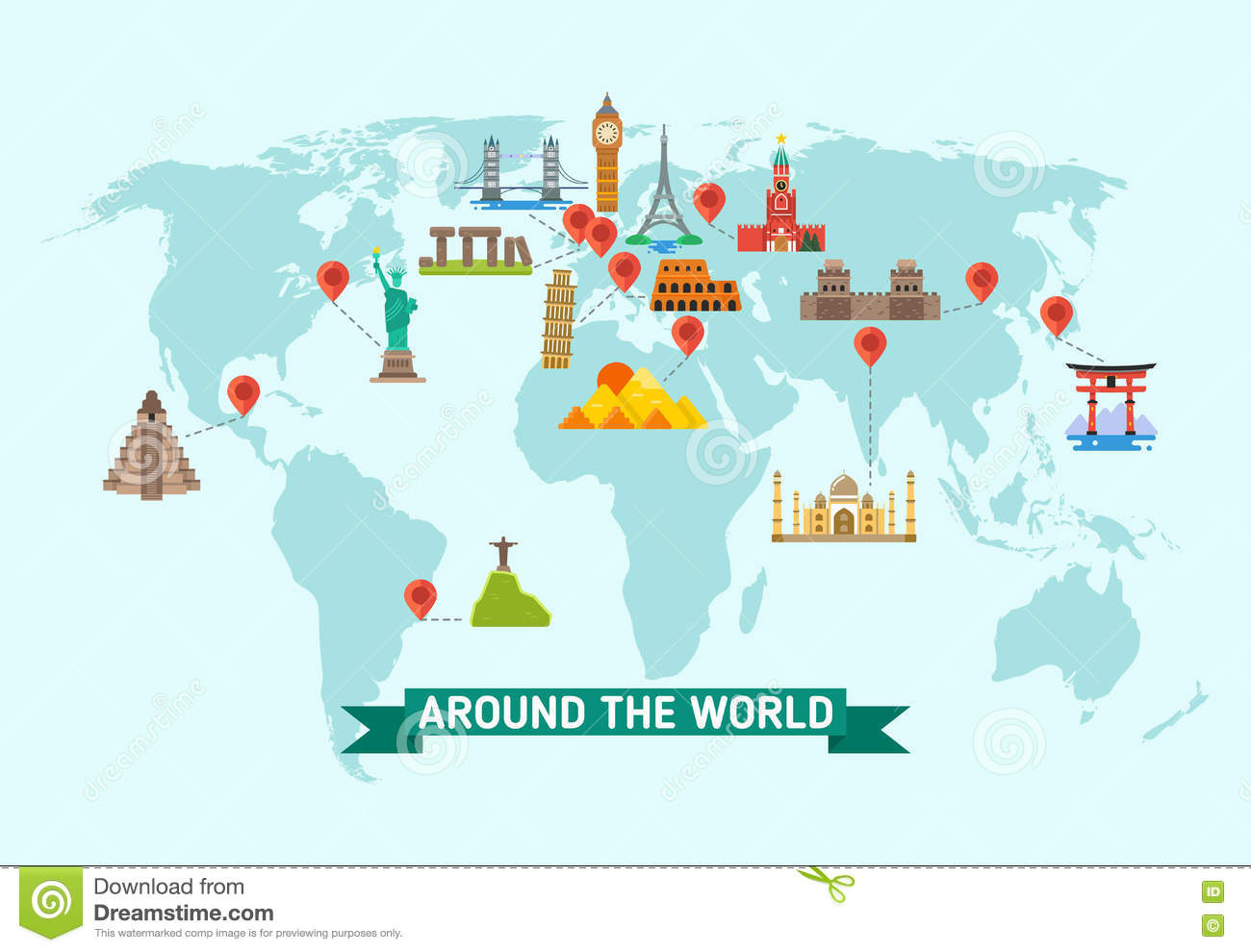 Travel landmarks on world map vector illustration stock vector travel landmarks on world map vector illustration gumiabroncs Images