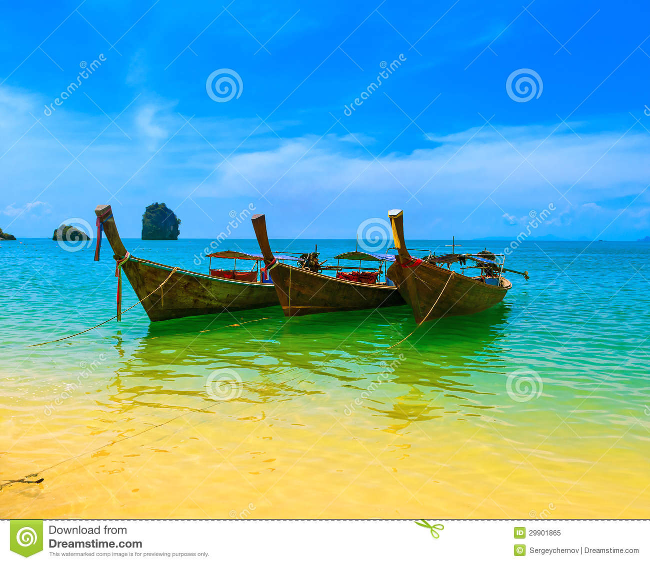 Travel landscape, beach with blue water and sky at summer. Thailand ...