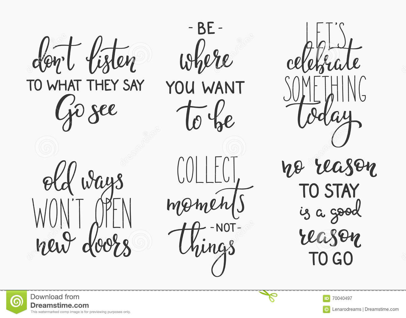 Quotes Calligraphy Travel Life Inspiration Quotes Lettering Stock Illustration
