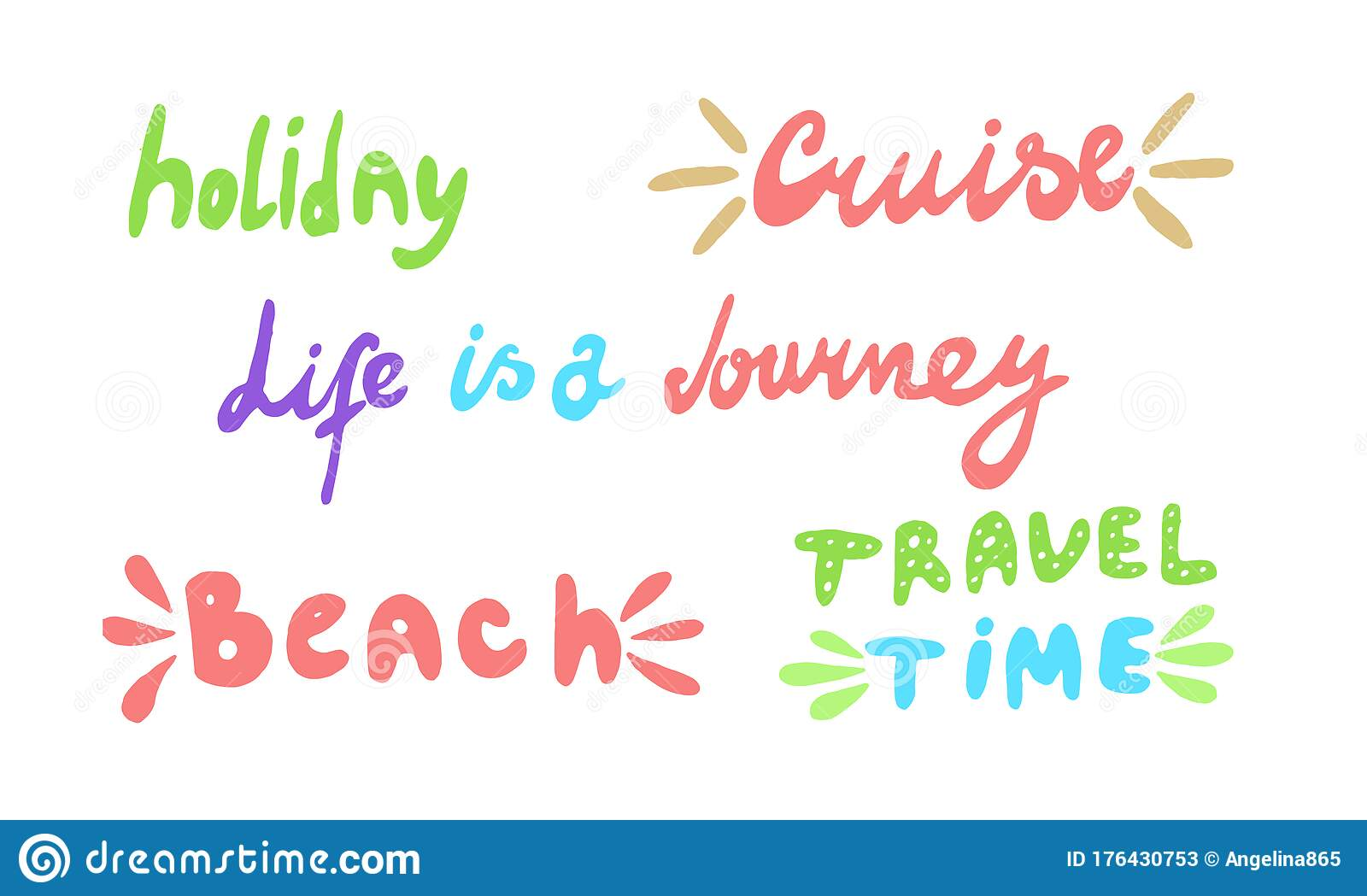 Travel Life Style Inspiration Quotes Vector Lettering Set ...