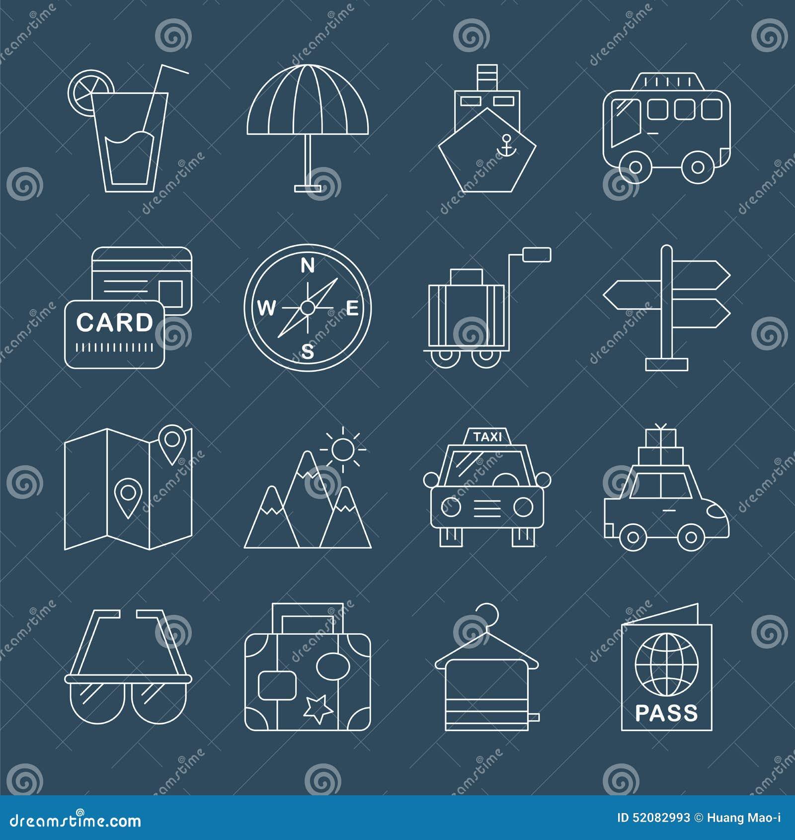 Travel line icon set