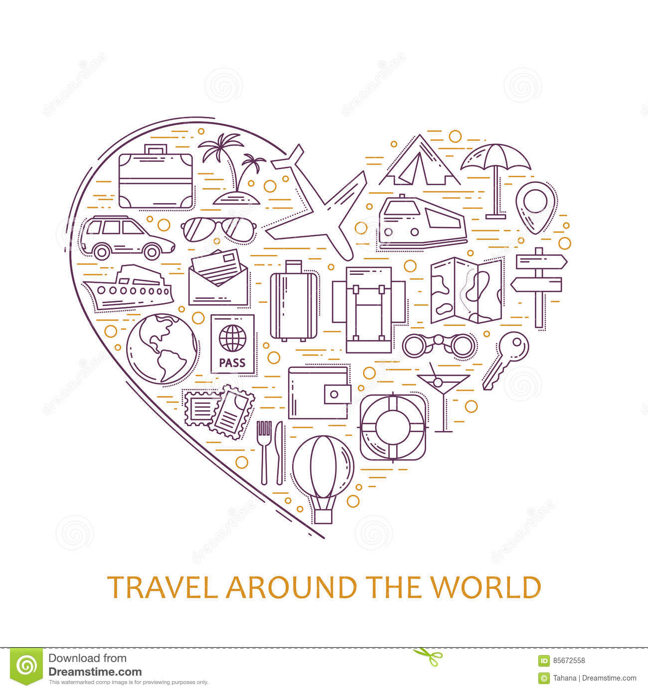 Travel line icons in heart shape. I love travel - vector illustration concept for cover card, brochure or magazine