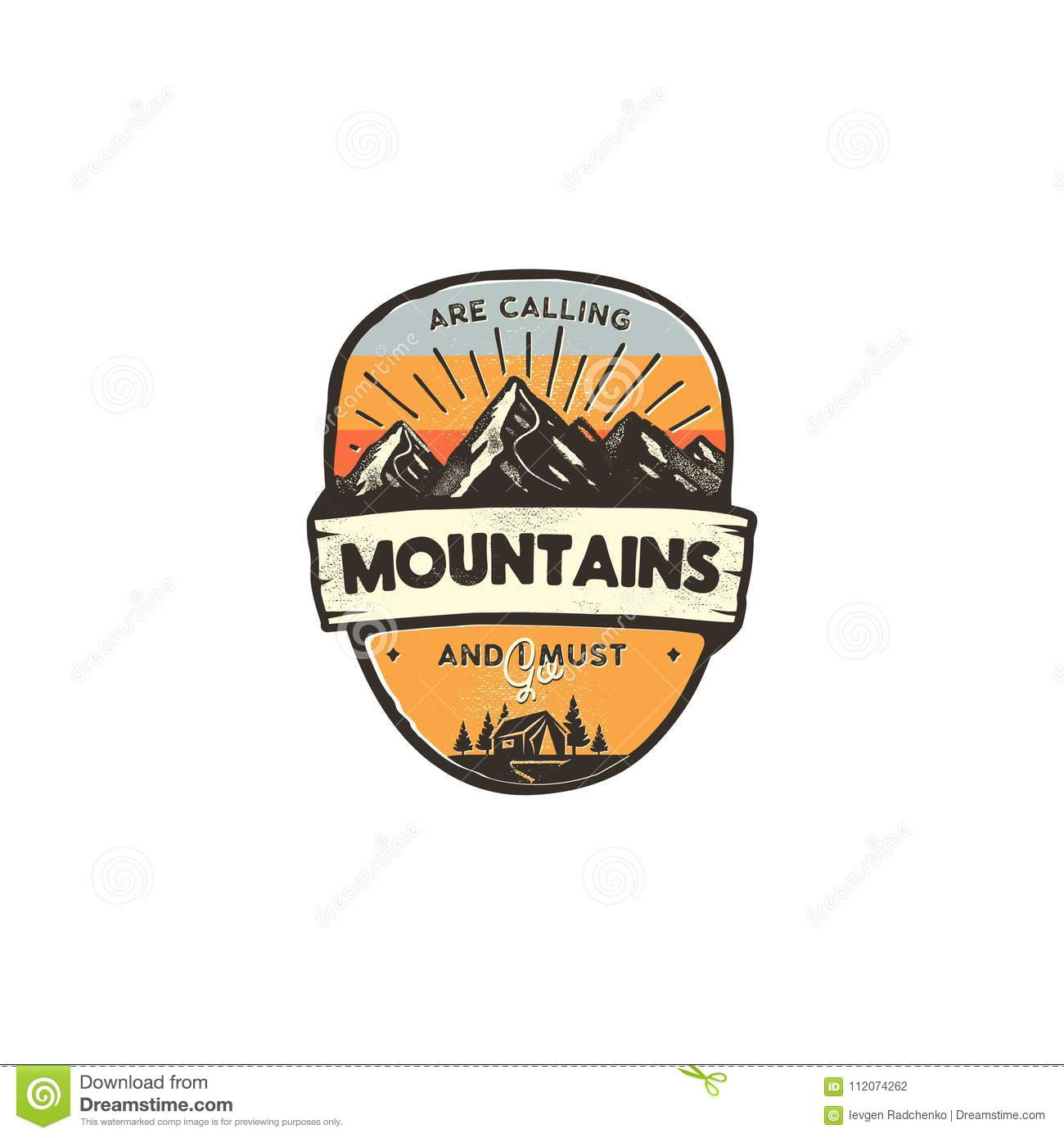 travel logo design concept retro colors style mountain adventure