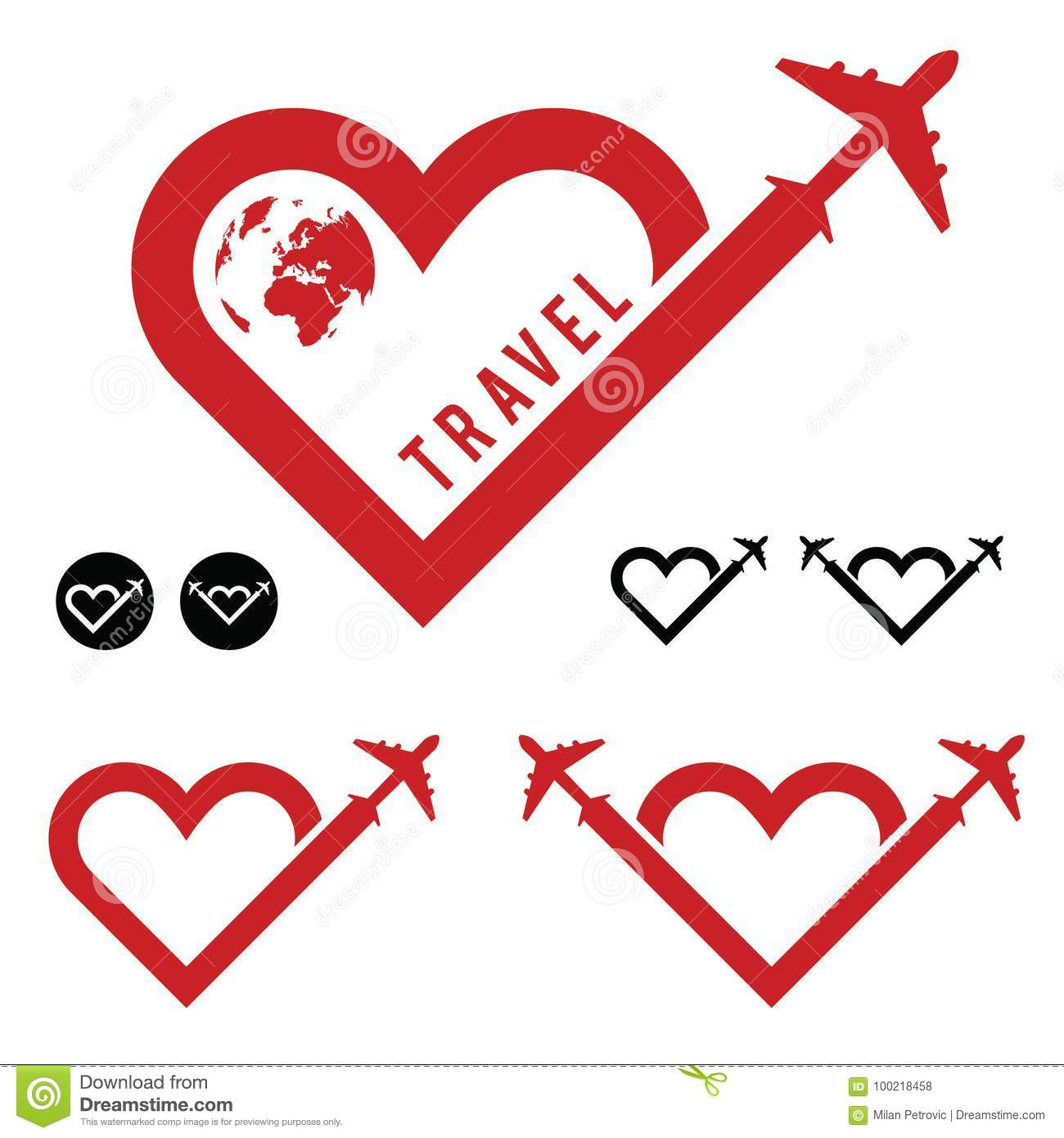 Travel love in heart icon set illustration
