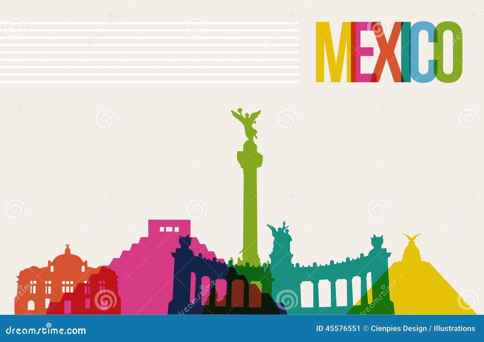 Travel México destination landmarks skyline background