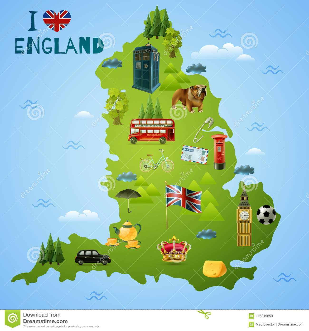 Www Map Of England.Travel Map For England Illustration Stock Vector Illustration Of