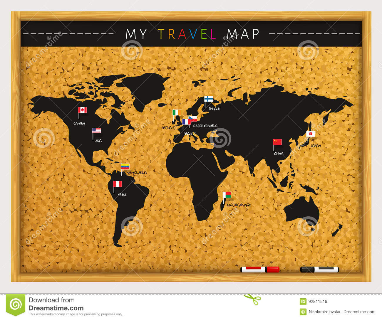 Travel map with flags map pointers and marker pens on cork board download comp gumiabroncs Image collections