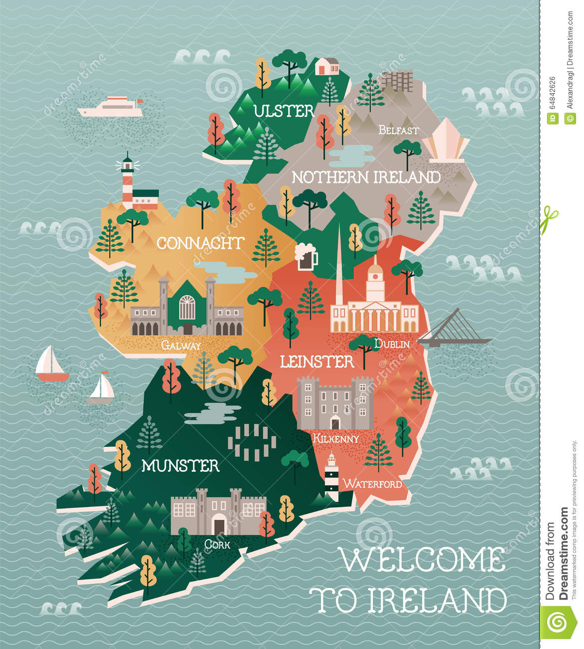 Travel Map Of Ireland With Landmarks And Cities Stock Vector - Cities map of ireland