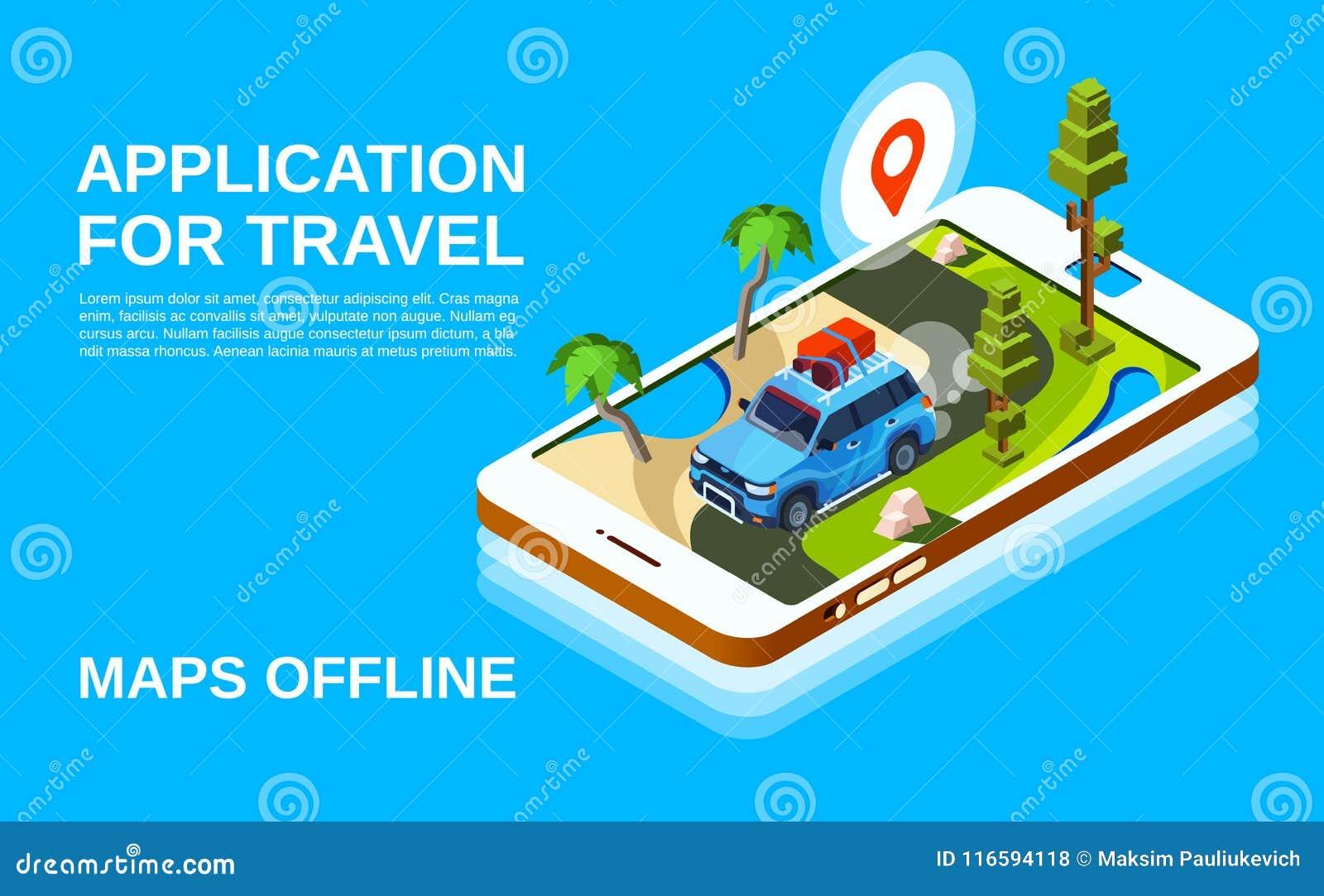 Travel Maps Application Vector Illustration Stock Vector