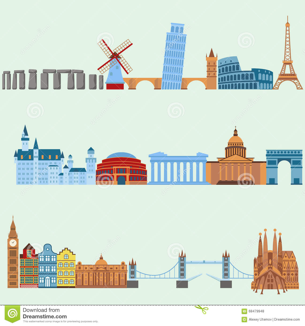 Travel Outdoor Euro Trip Vacation Travelling Concept Flat Design