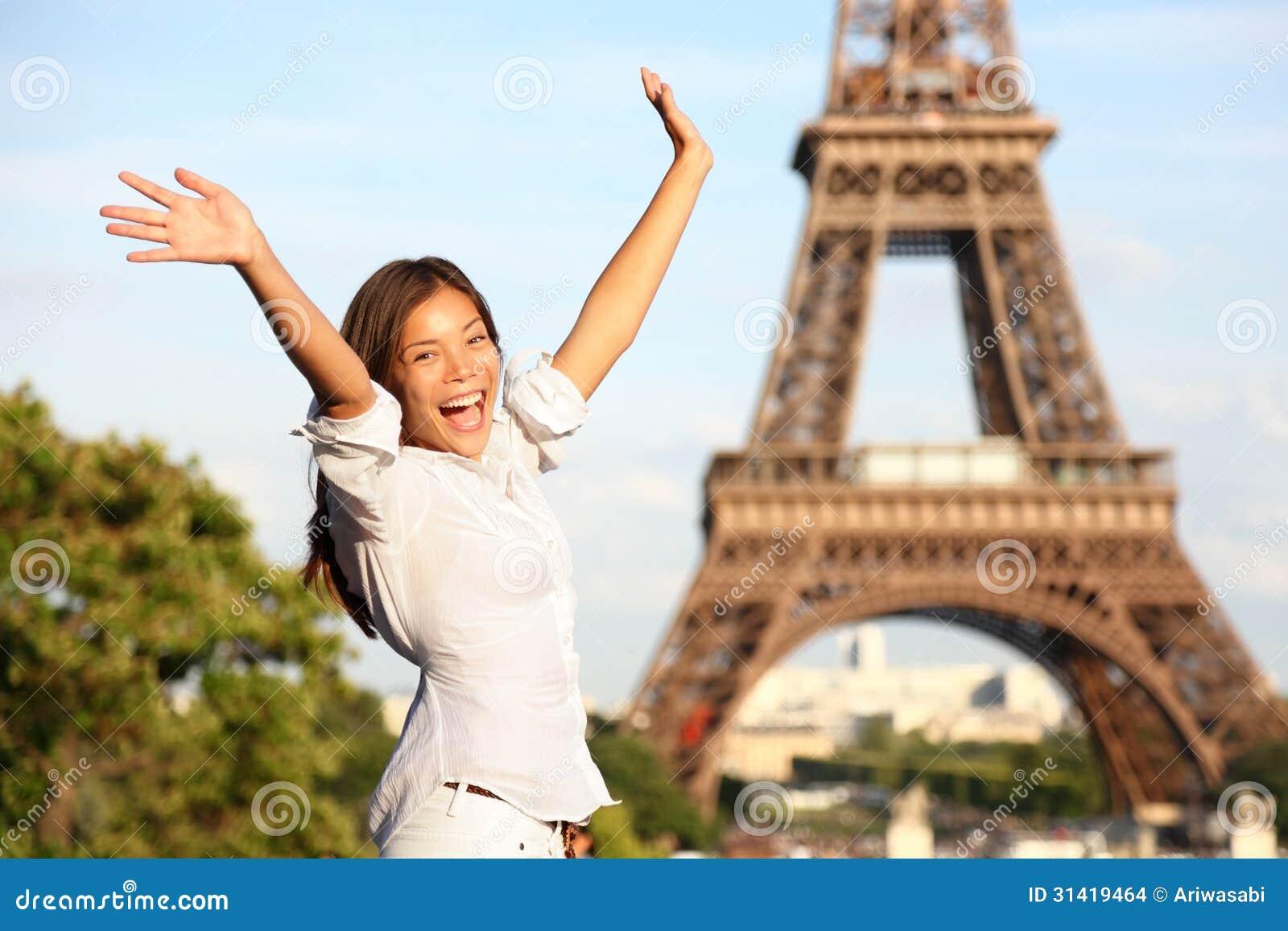 Paris Tourist Traveling: Travel Paris Eiffel Tower Woman Happy Tourist Stock Images