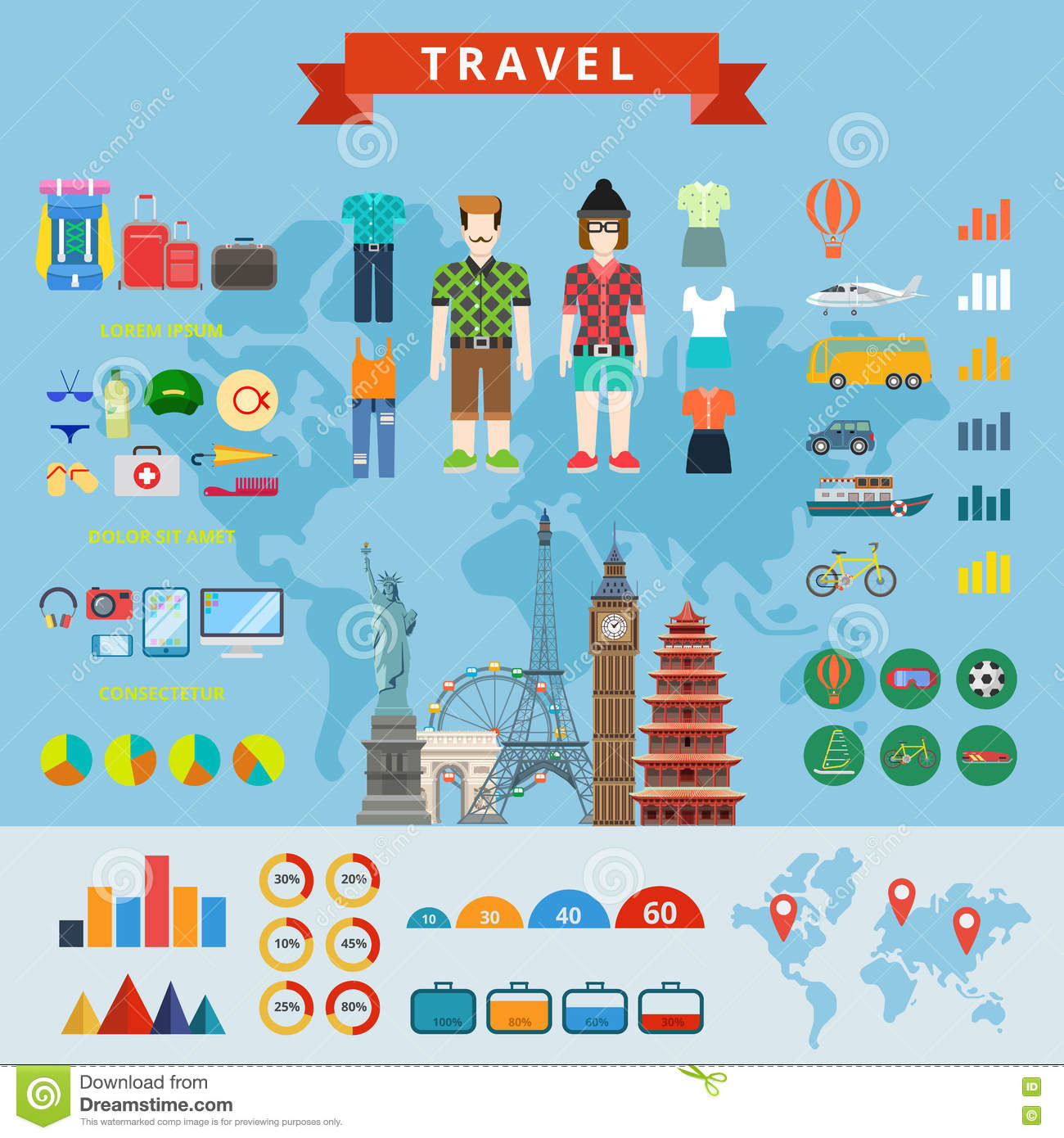 travel people infographics constructor flat concept web template