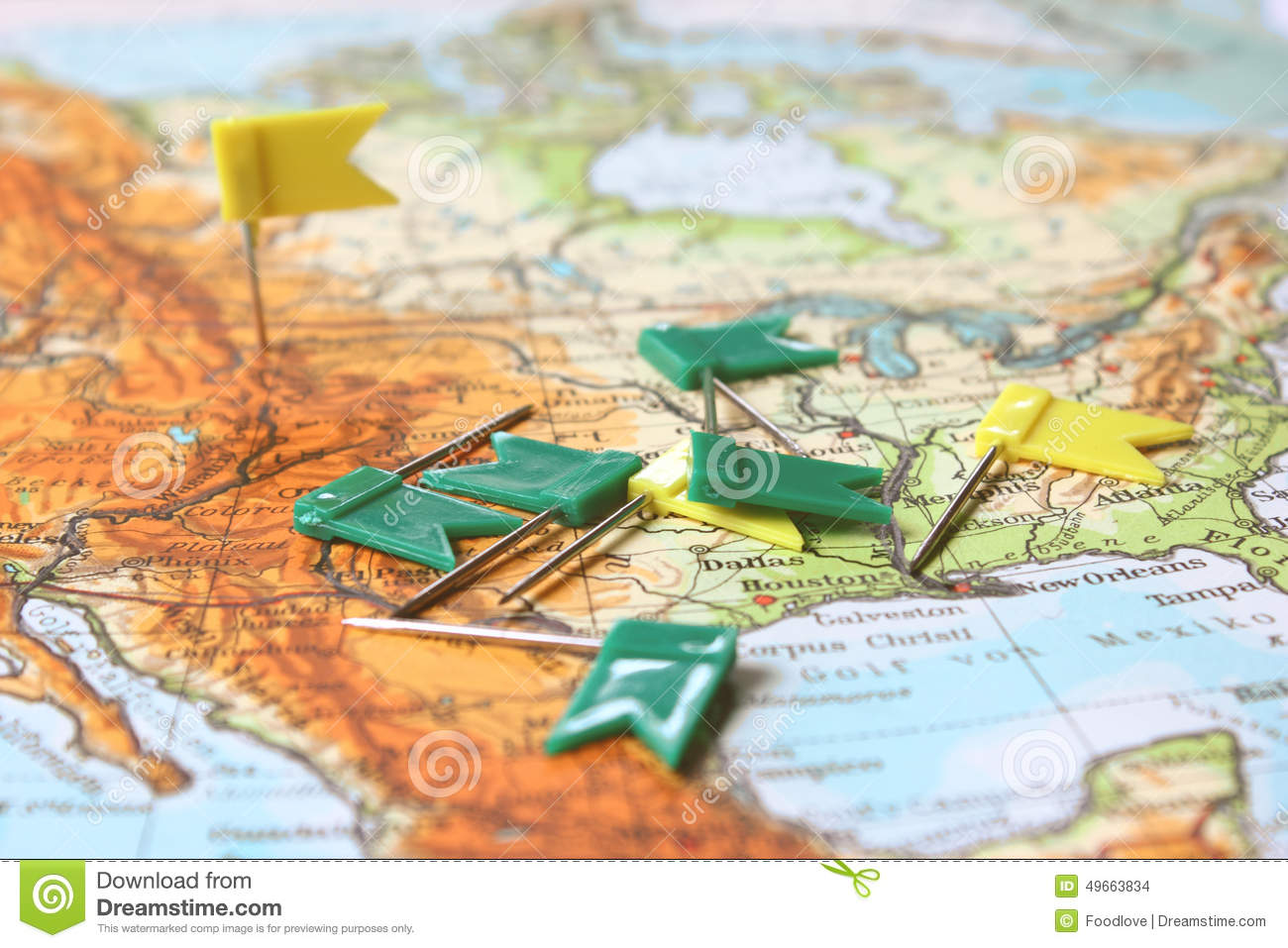 Travel Planning Map With Flag Pins Photo Image 49663834 – Travel Planning Map