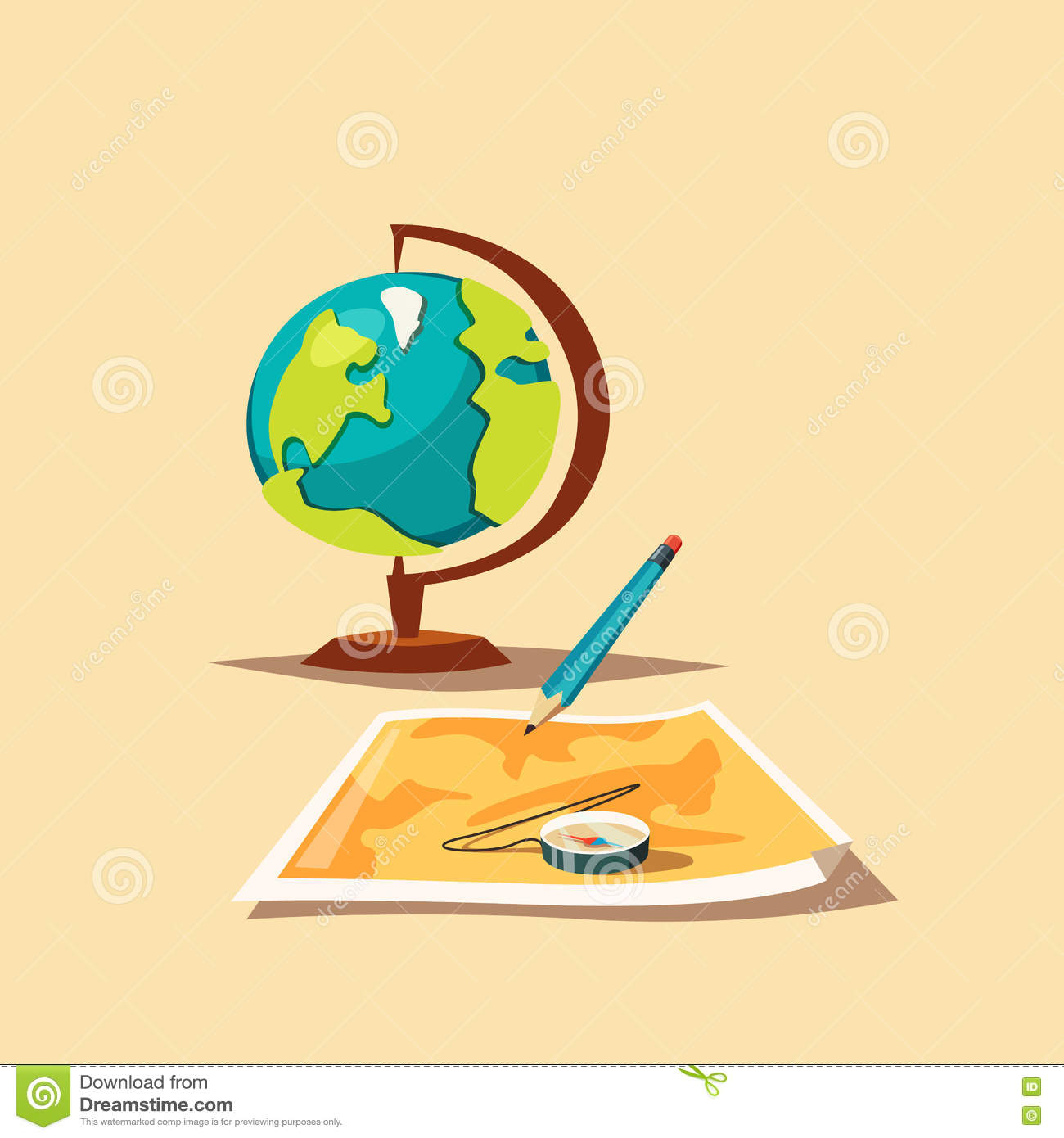 Travel Planning Map Globe And Compass Cartoon Vector – Map For Travel Planning