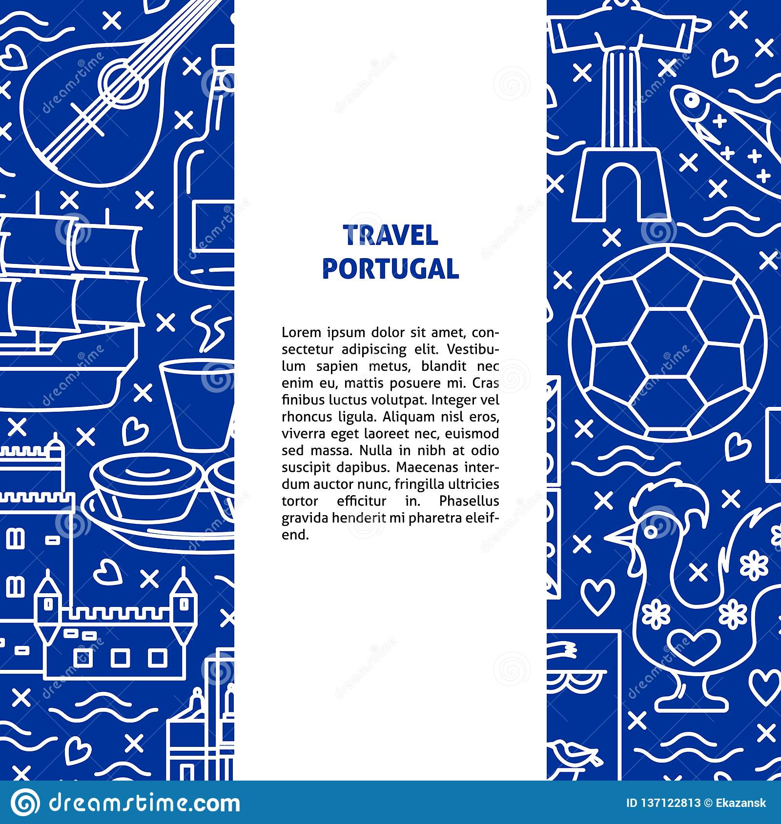 Travel Portugal concept banner template in line style stock photos