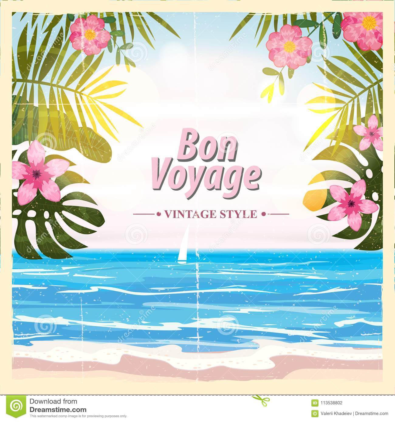 Vintage Child At Sunny Beach With Travel Suitcase Stock: Bon Voyage Card Vector Illustration