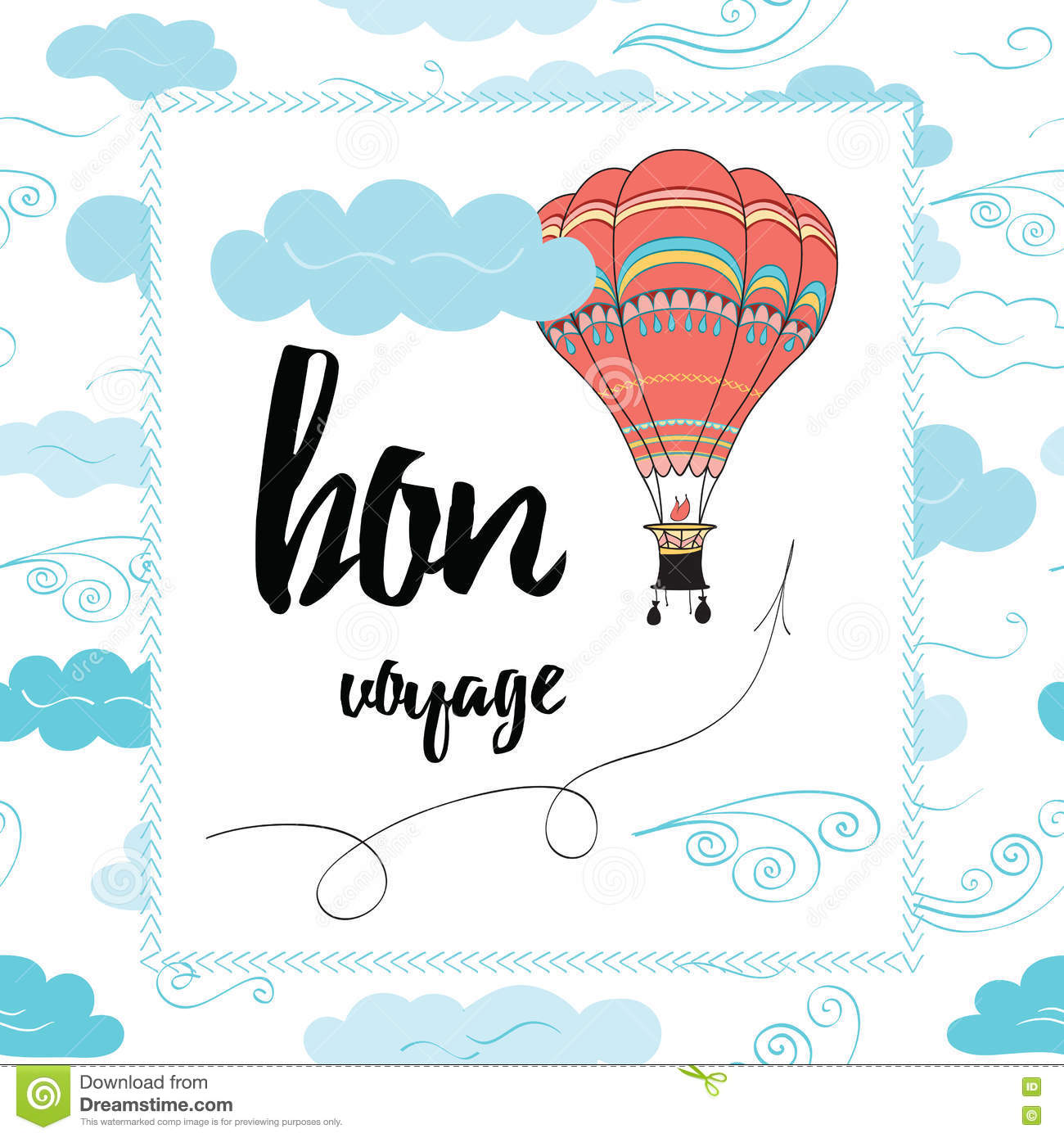 Travel Poster With Hot Air Balloon And Quote Stock Vector