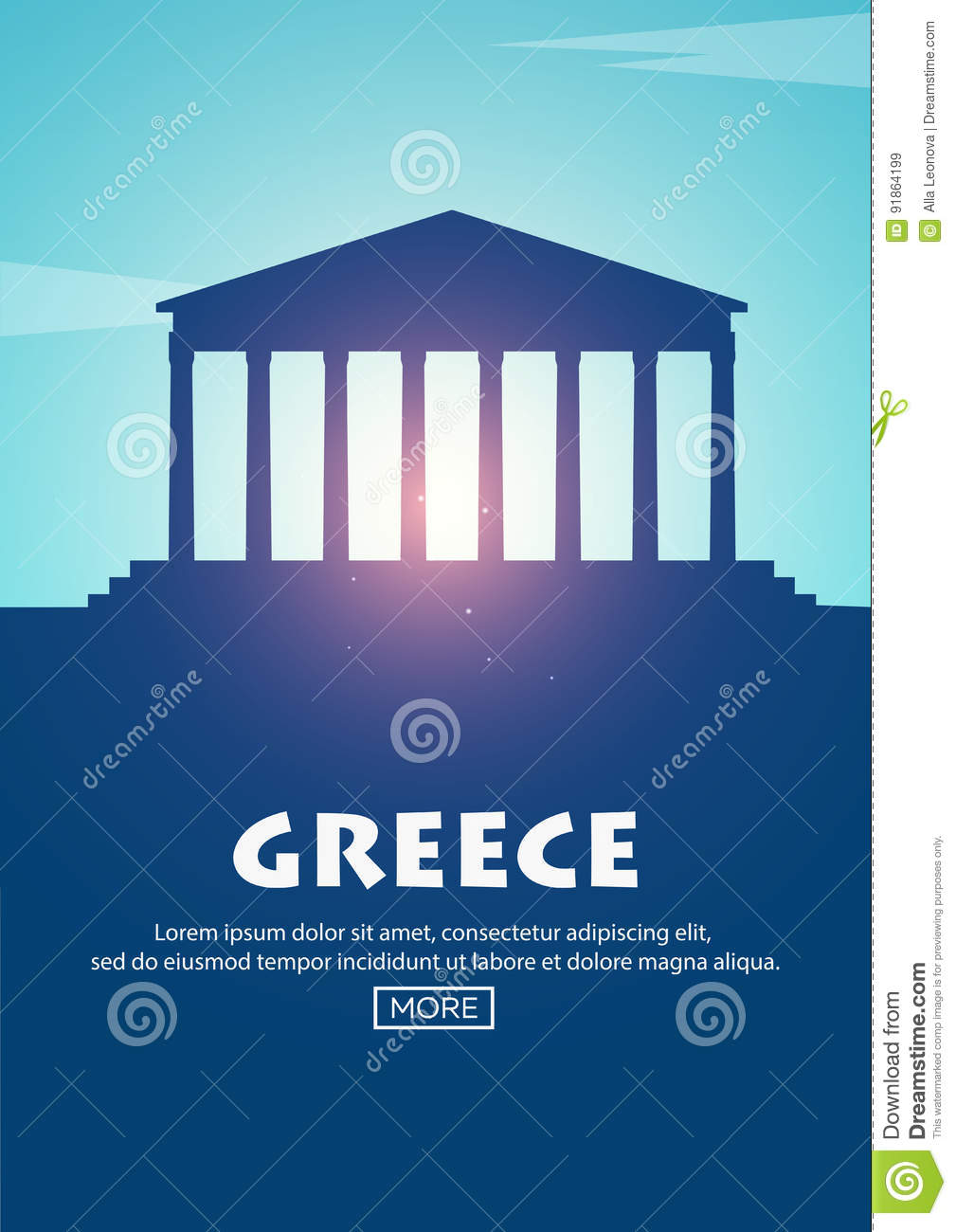 Travel poster to Greece. Landmarks silhouettes. Vector illustration.