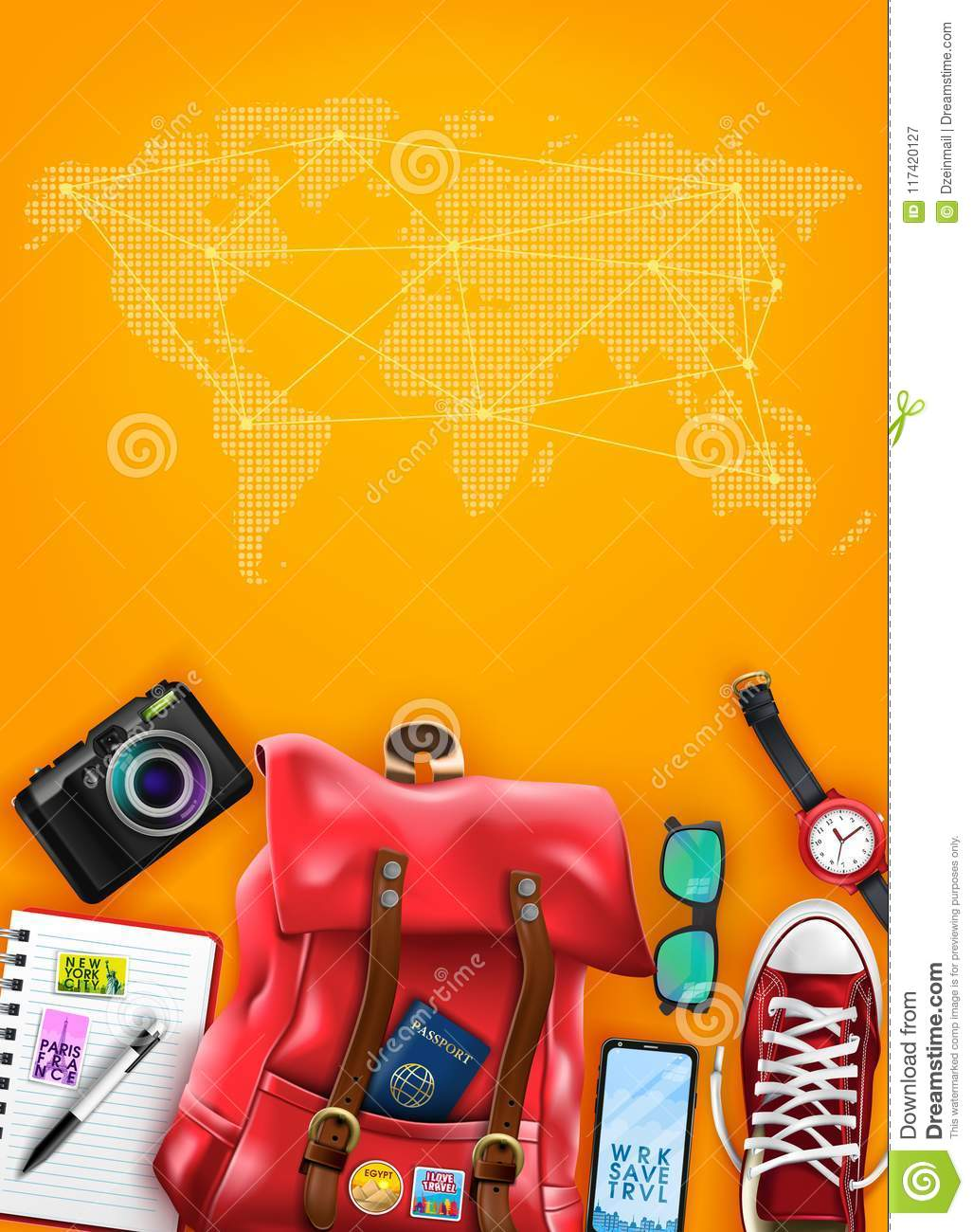 Travel Poster Top View Template With Space For Text And