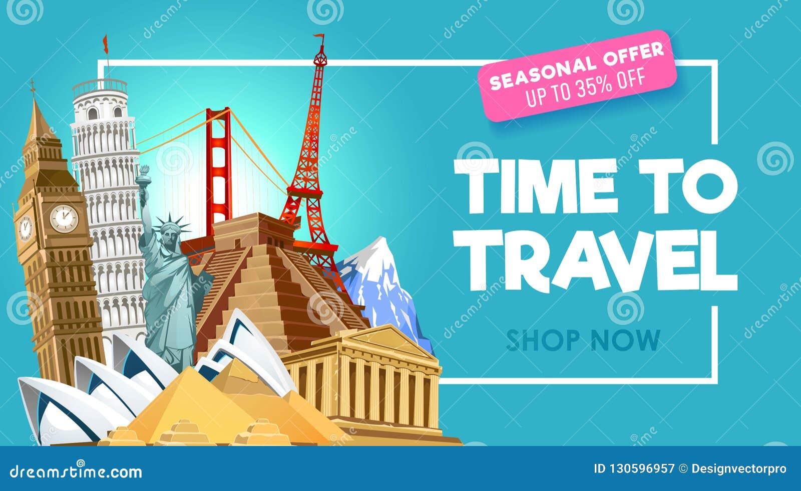 Travel Promo Banner Design For Travel Agency  Vector
