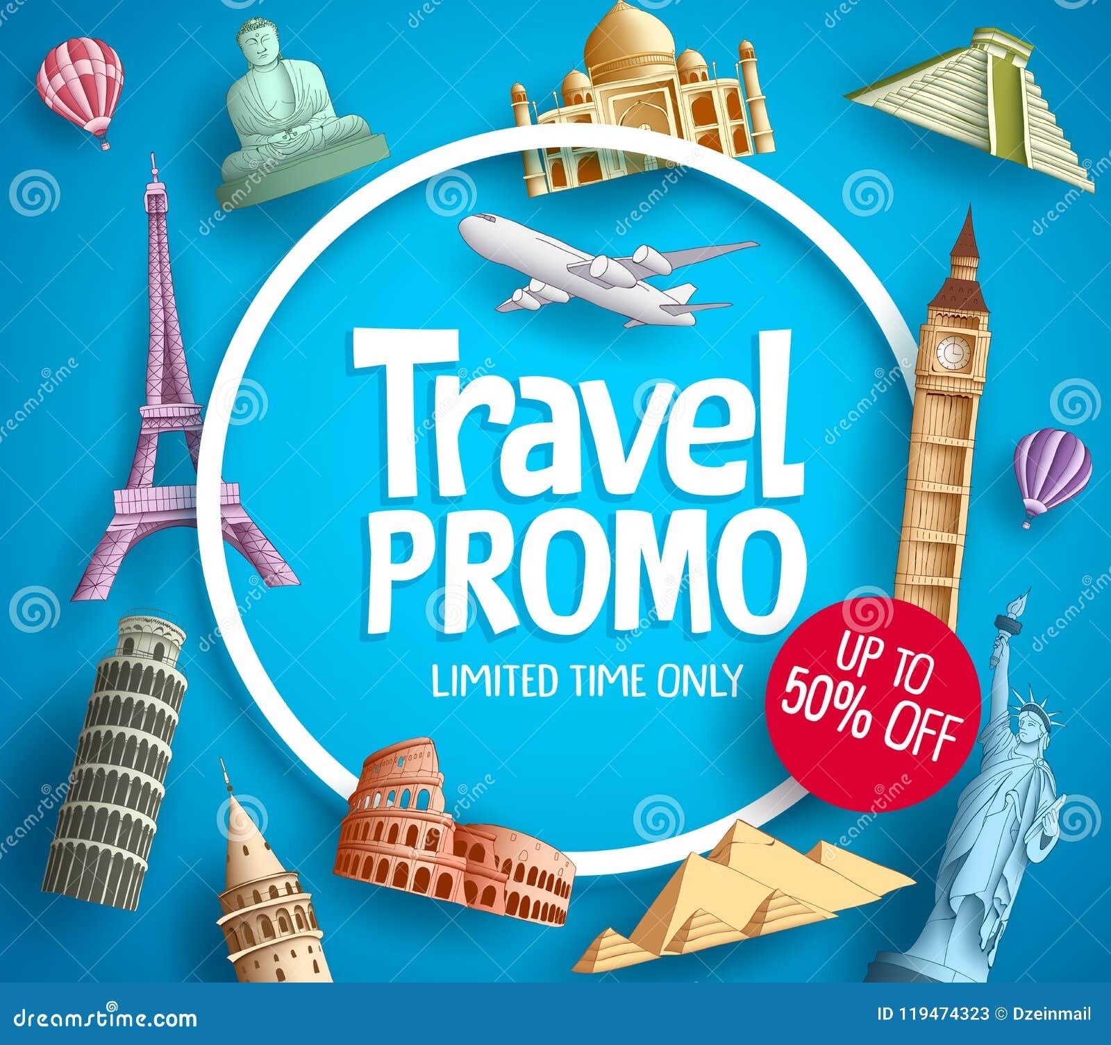 Travel promo vector banner promotion design with tourist destinations