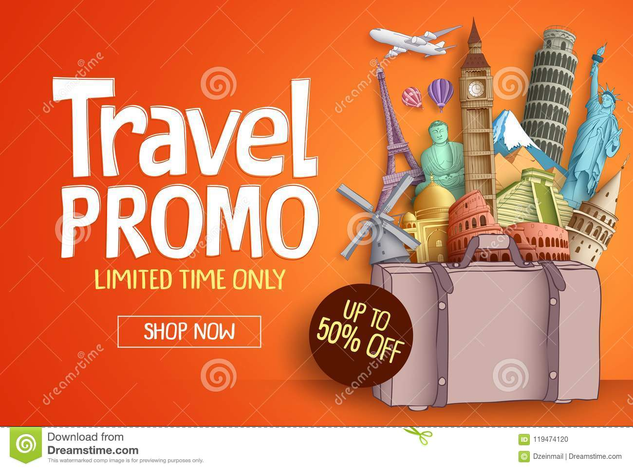 Travel promo vector banner template with world`s famous tourist landmarks