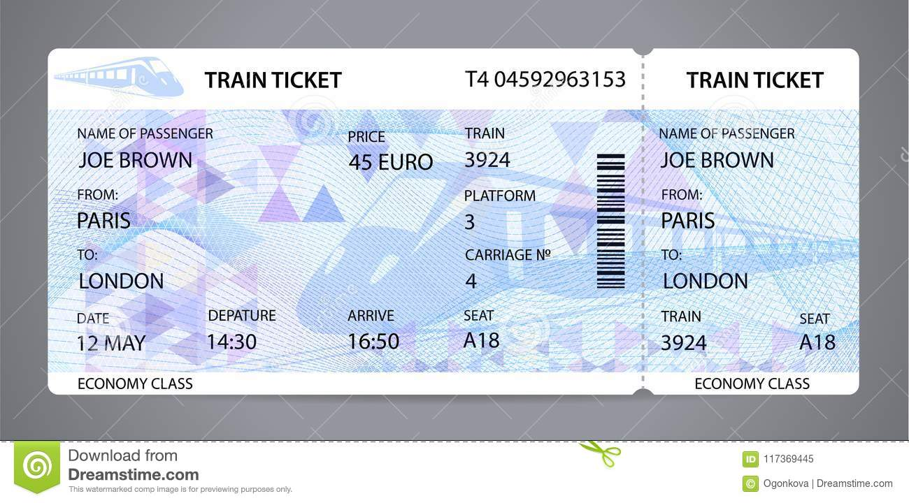 Vector Train Ticket Traveler Check Template Layout With Train