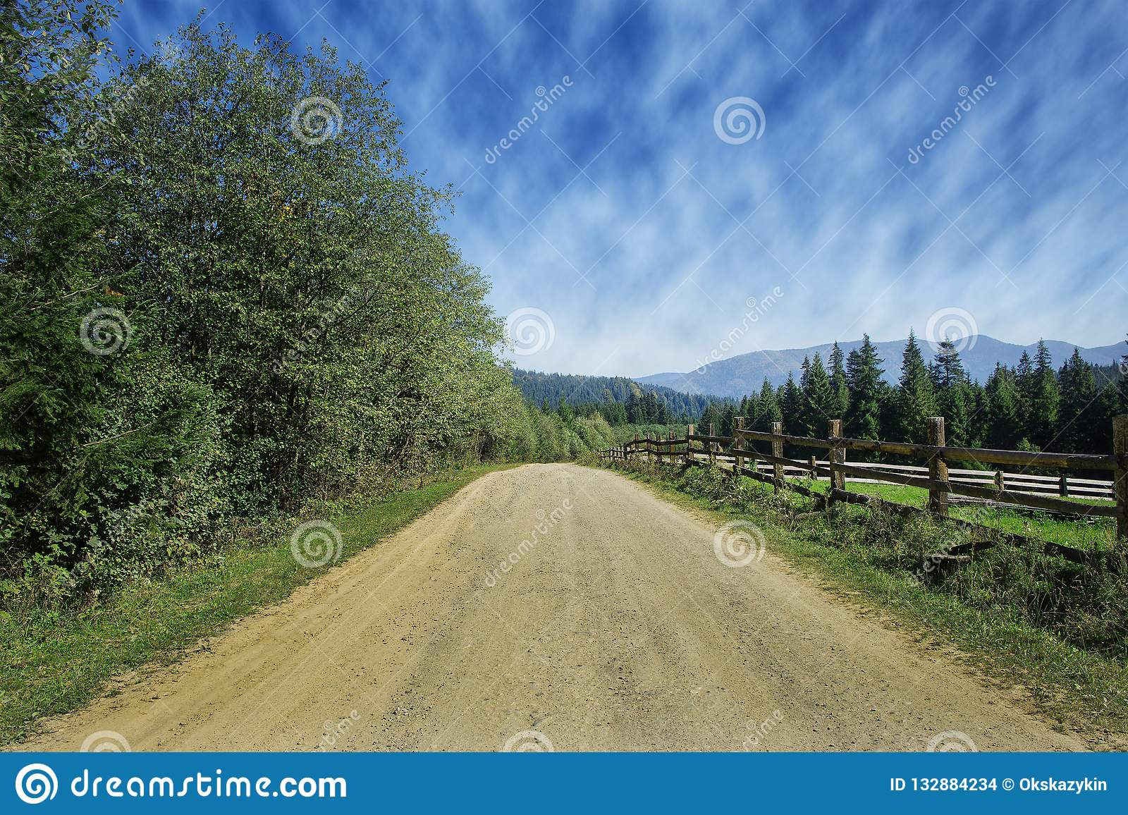 Travel road on the field with green grass and blue sky with clouds on the farm in beautiful summer sunny day. Clean, idyllic, land