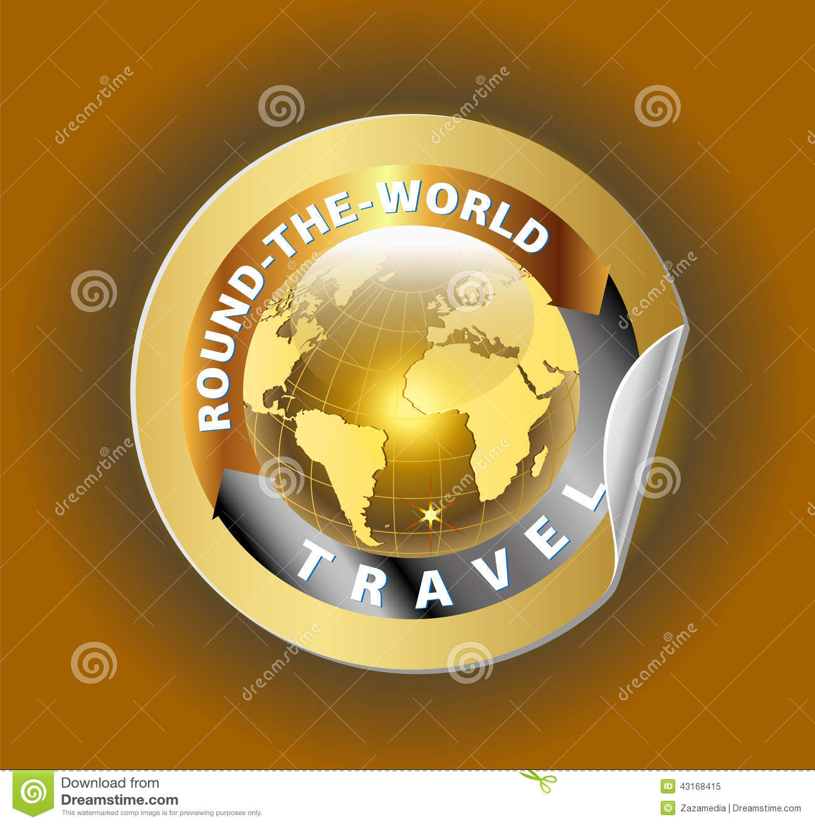 travel round the world symbol with golden globe symbol label cartoon vector. Black Bedroom Furniture Sets. Home Design Ideas