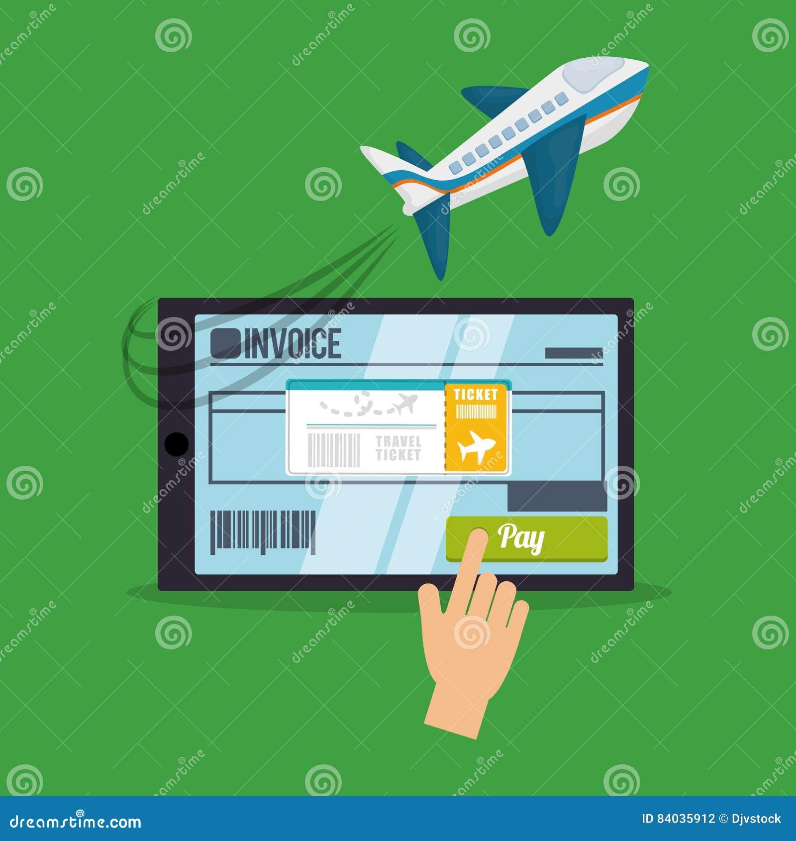 Buy Travel Tickets Online: Travel Smartphone Ticket Invoice Airplane Buy Stock