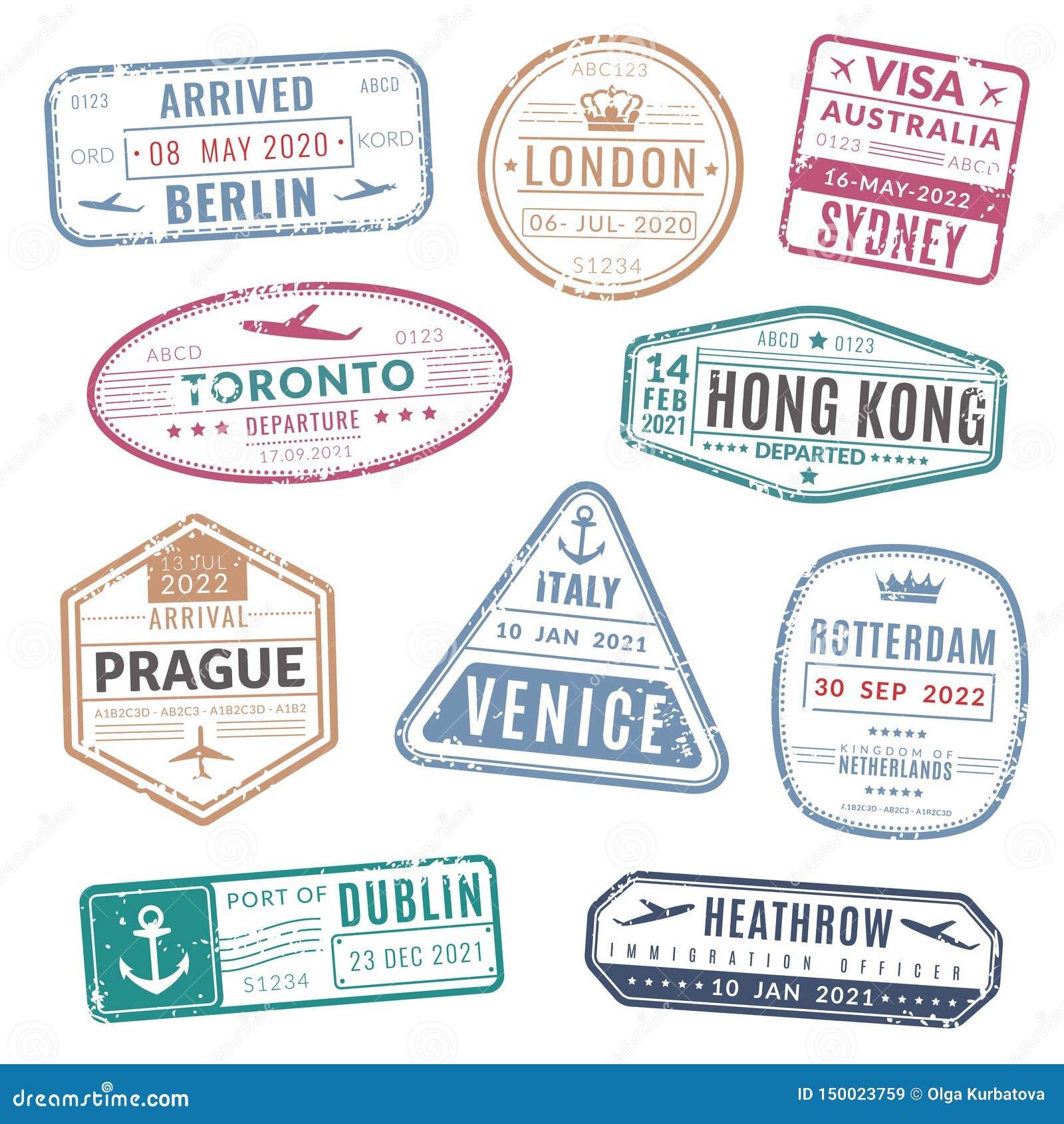 Travel Stamp Vintage Passport Visa International Arrived Stamps With Grunge Texture Isolated Vector Set Stock Vector Illustration Of Label Passport 150023759