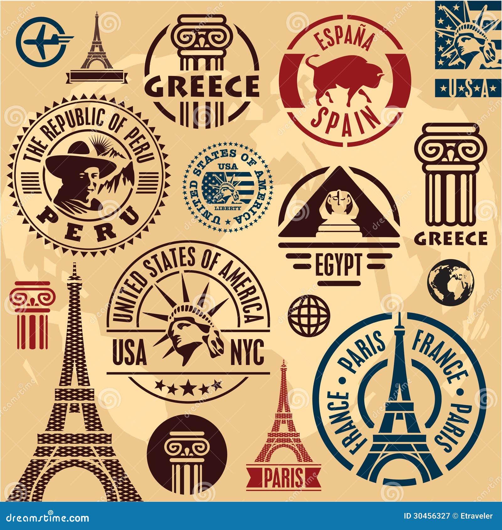 Travel Stamps Stock Vector Illustration Of Emblem Peru