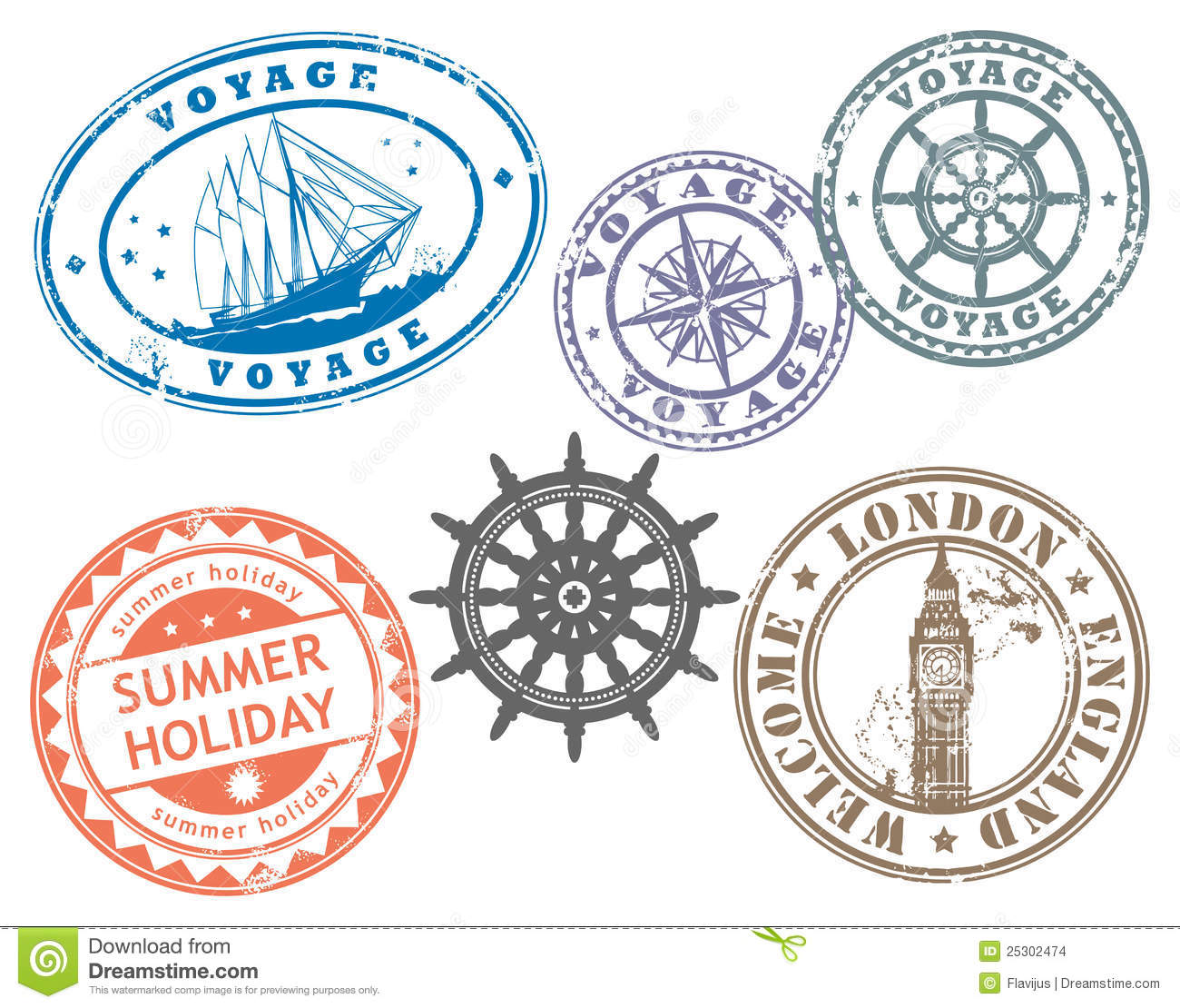Grunge Rubber Stamps Set With Words Voyage Summer London England And Welcome Inside