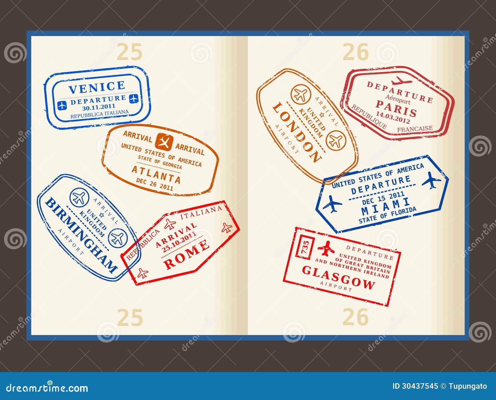 Travel Stamps Stock Vector Illustration Of Atlanta Miami 30437545