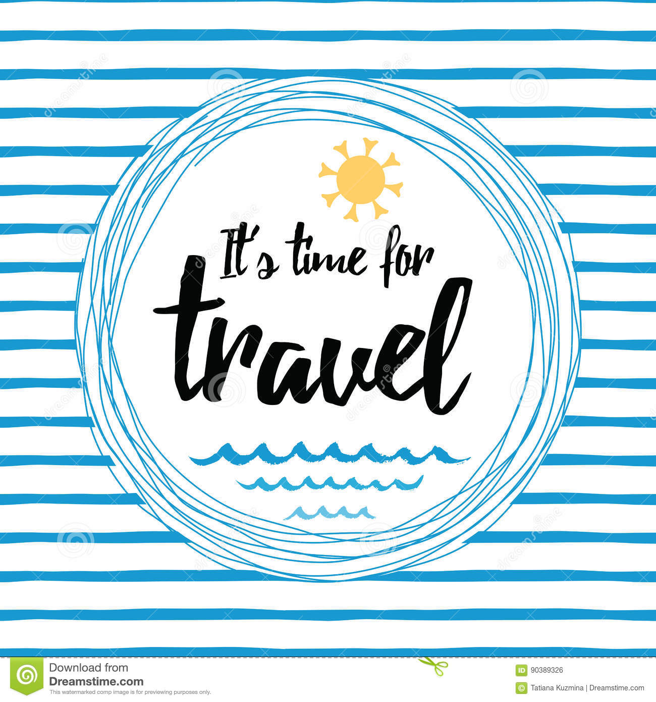 Travel striped typographic card with inspirational quote, sun, sea waves, ocean