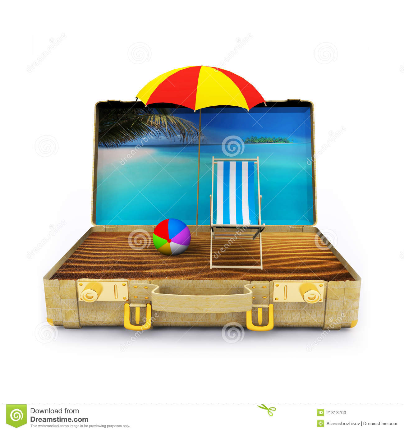 Travel Suitcase With Beach