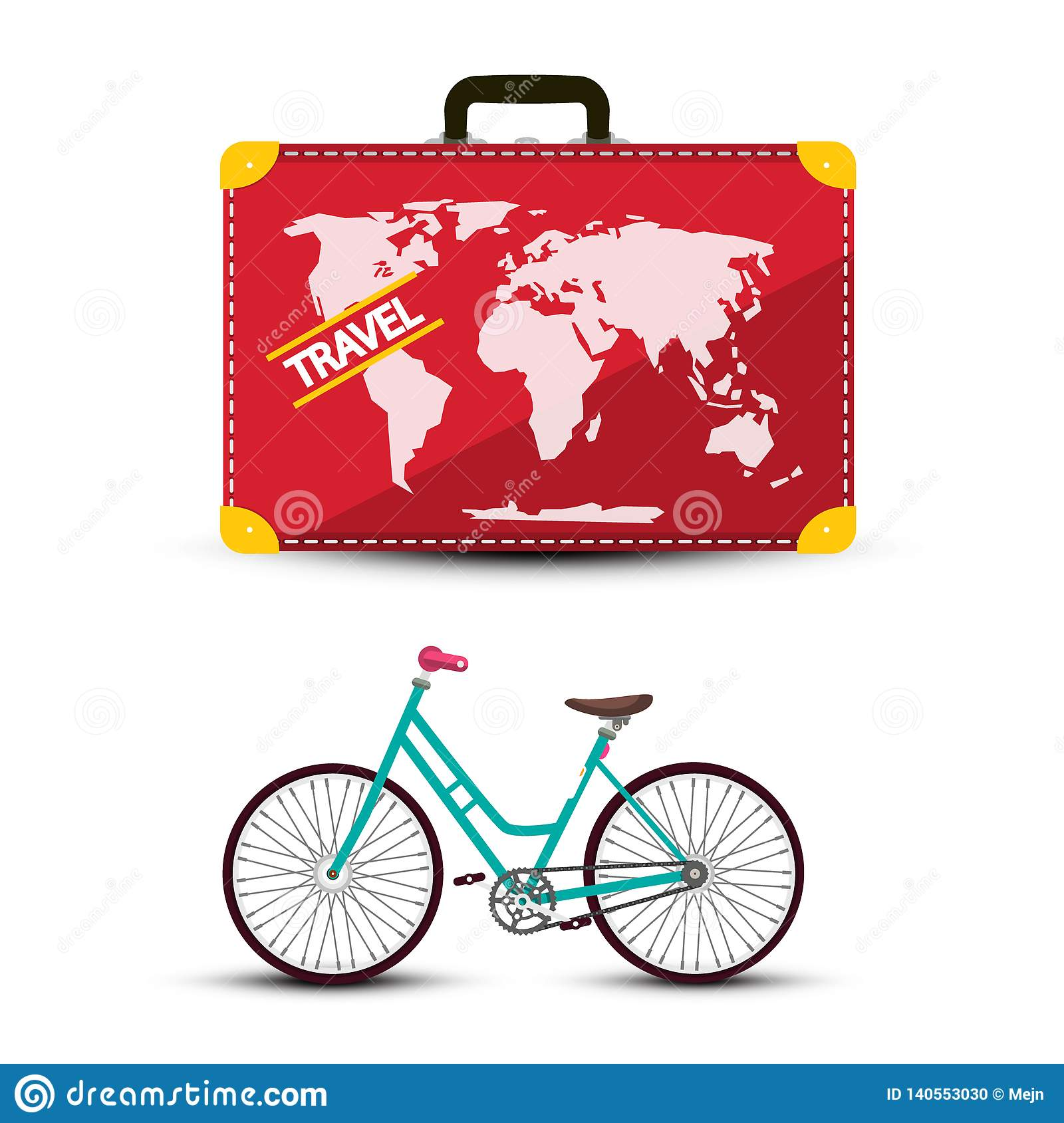 Travel Suitcase with Bicycle Isolated on White Background.