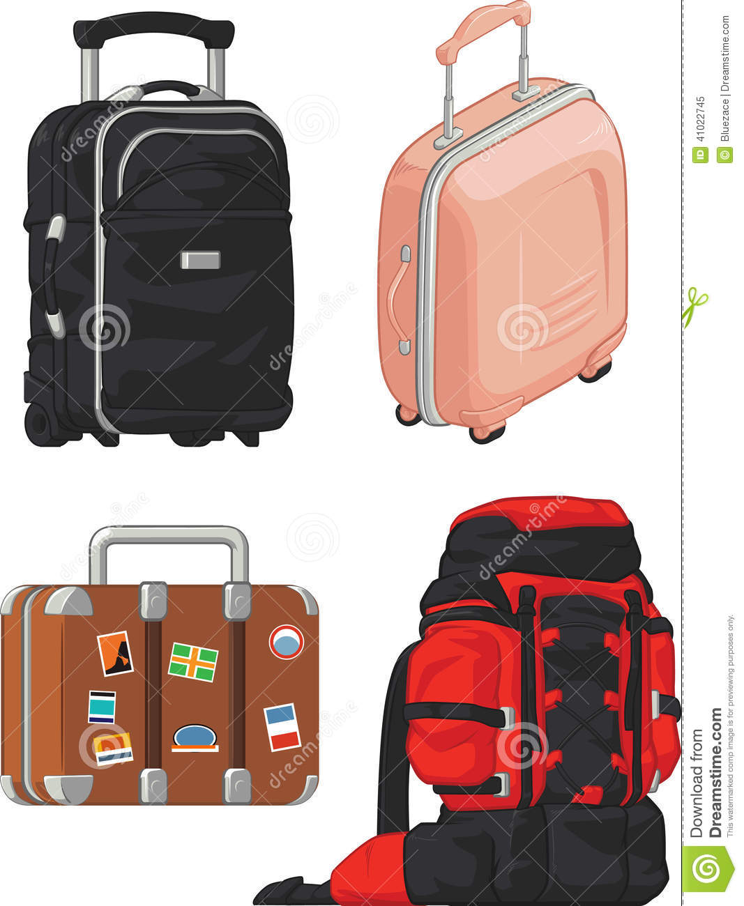 Travel Suitcase And Mountain Bag Stock Vector - Image: 41022745