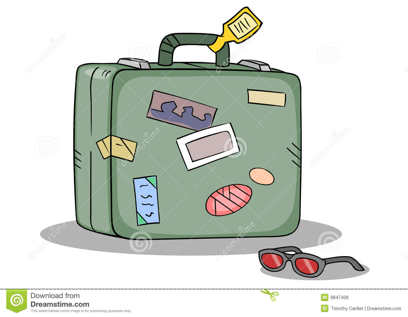 Green Suitcase For Travel With Stickers Vector ...