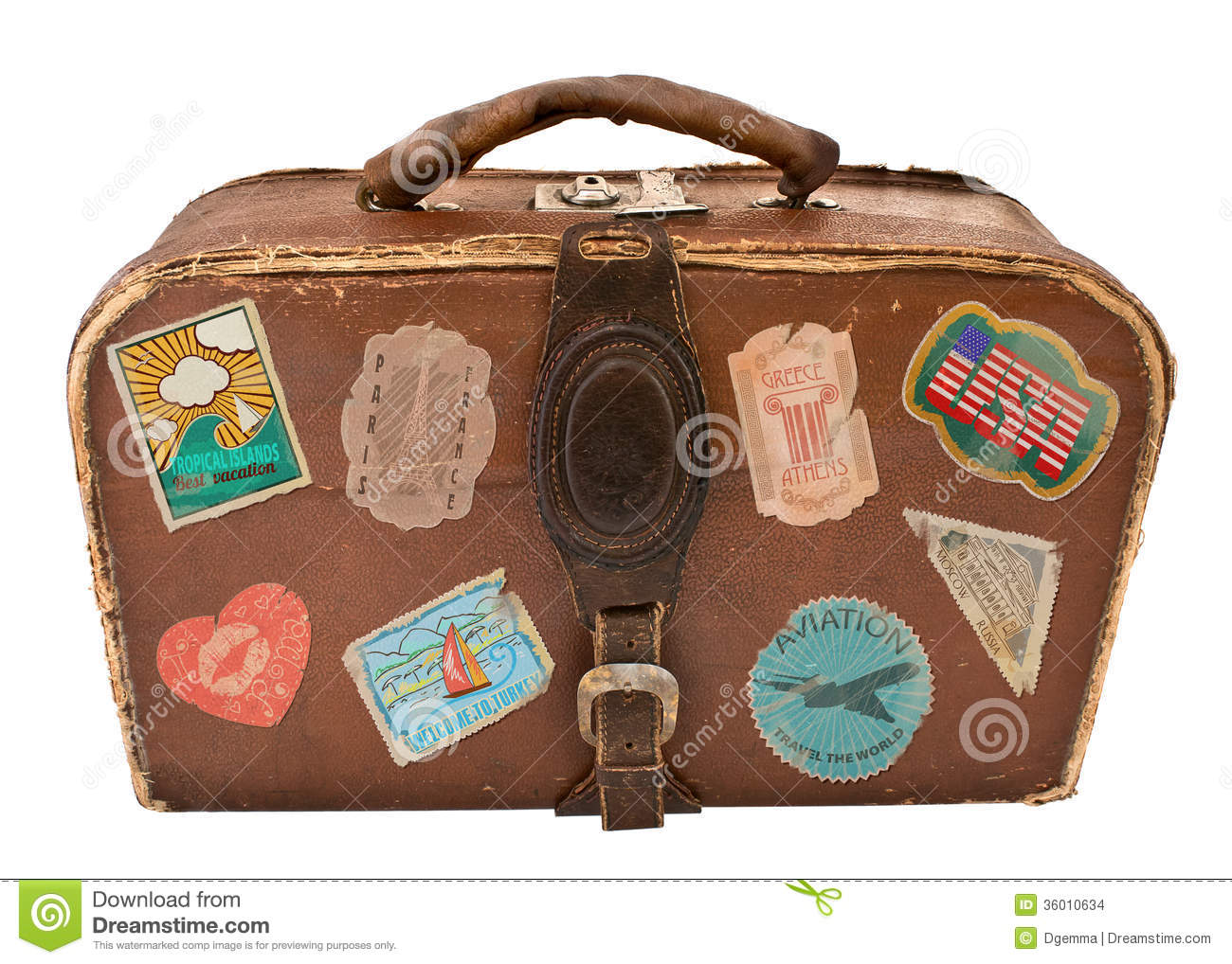 travel suitcase with stickers stock illustration image 36010634. Black Bedroom Furniture Sets. Home Design Ideas