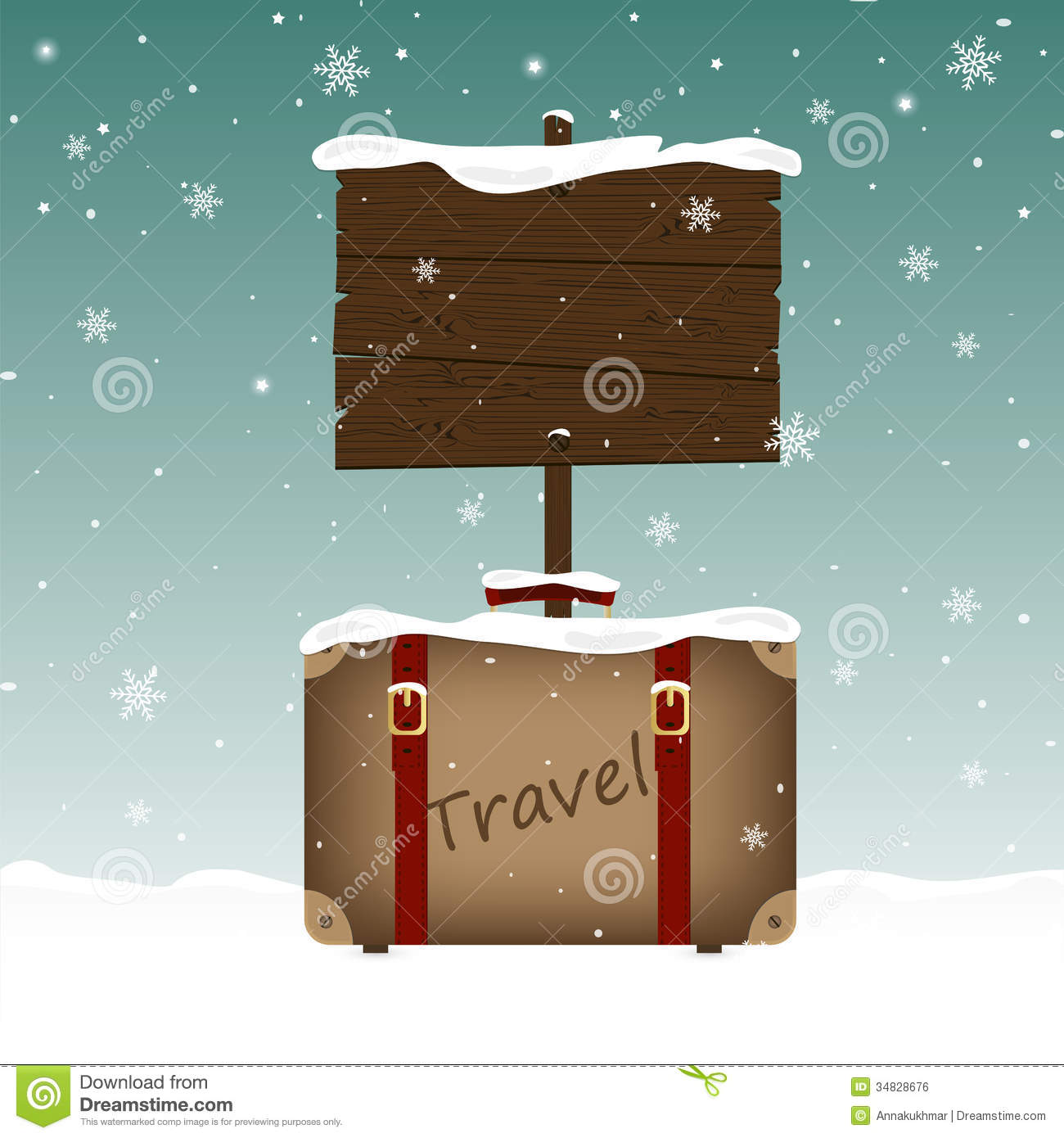 Easy Year To Travel On Christmas: Travel Suitcase And A Wooden Signboard In Snow Stock