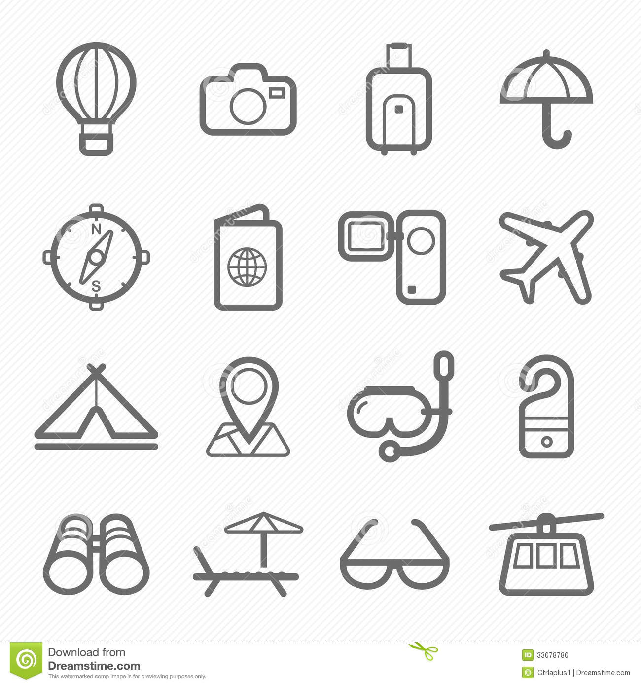 Travel Symbol Line Icon Set Stock Photo Image 33078780
