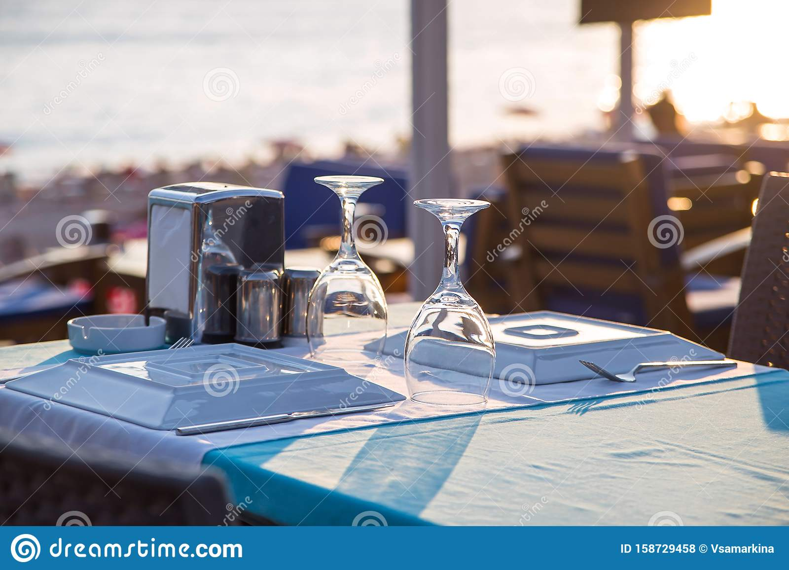 Travel table for lunch or dinner by the sea