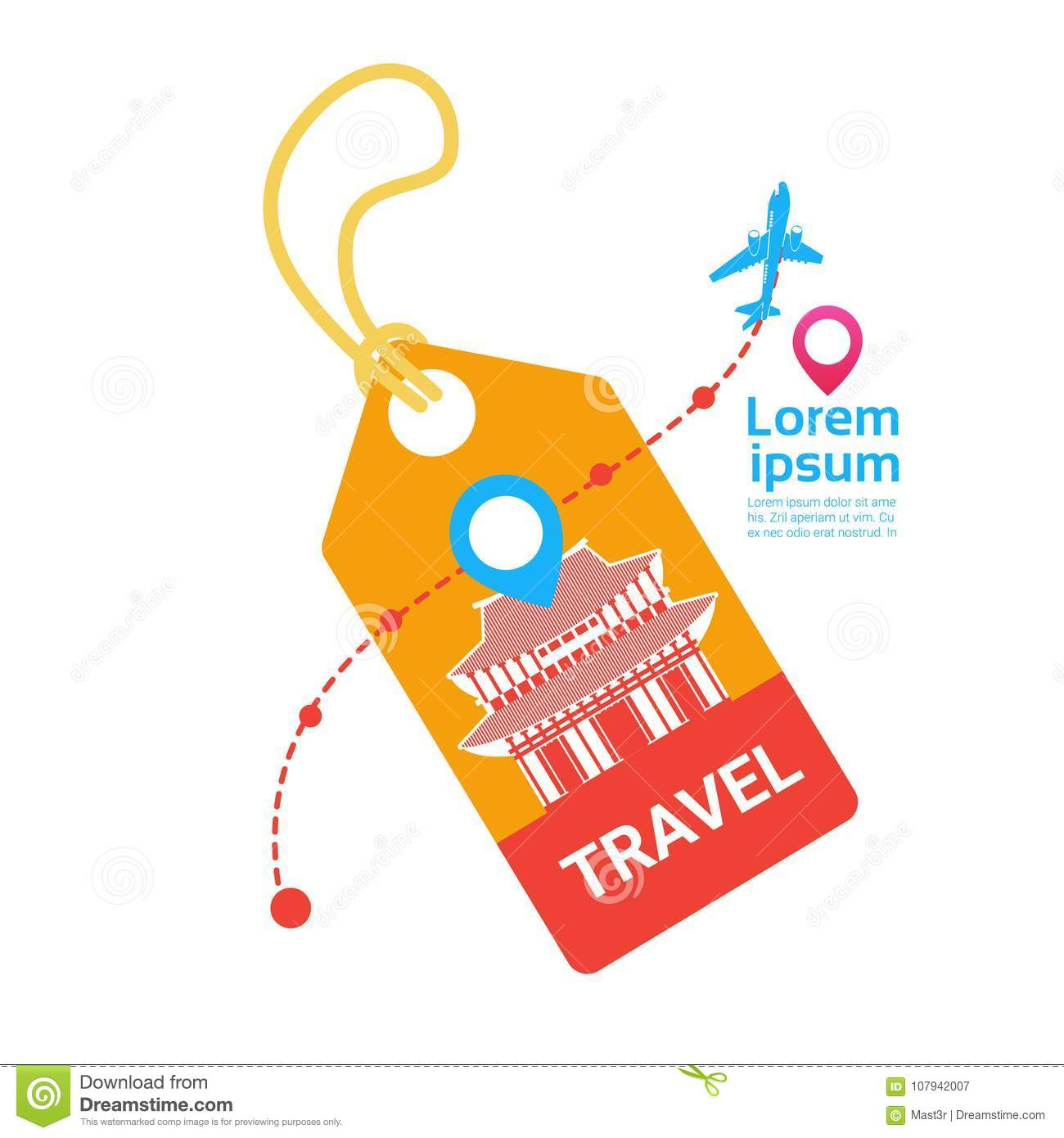 travel tag with plane template background south korea vacation