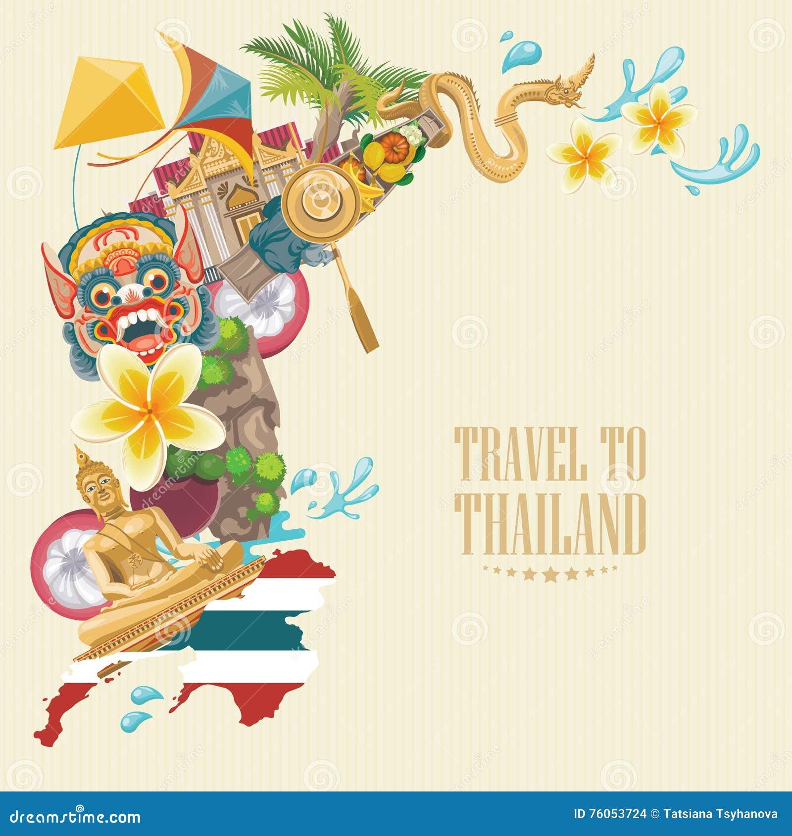 Travel Thailand Landmarks With Thailand Map. Thai Vector ...