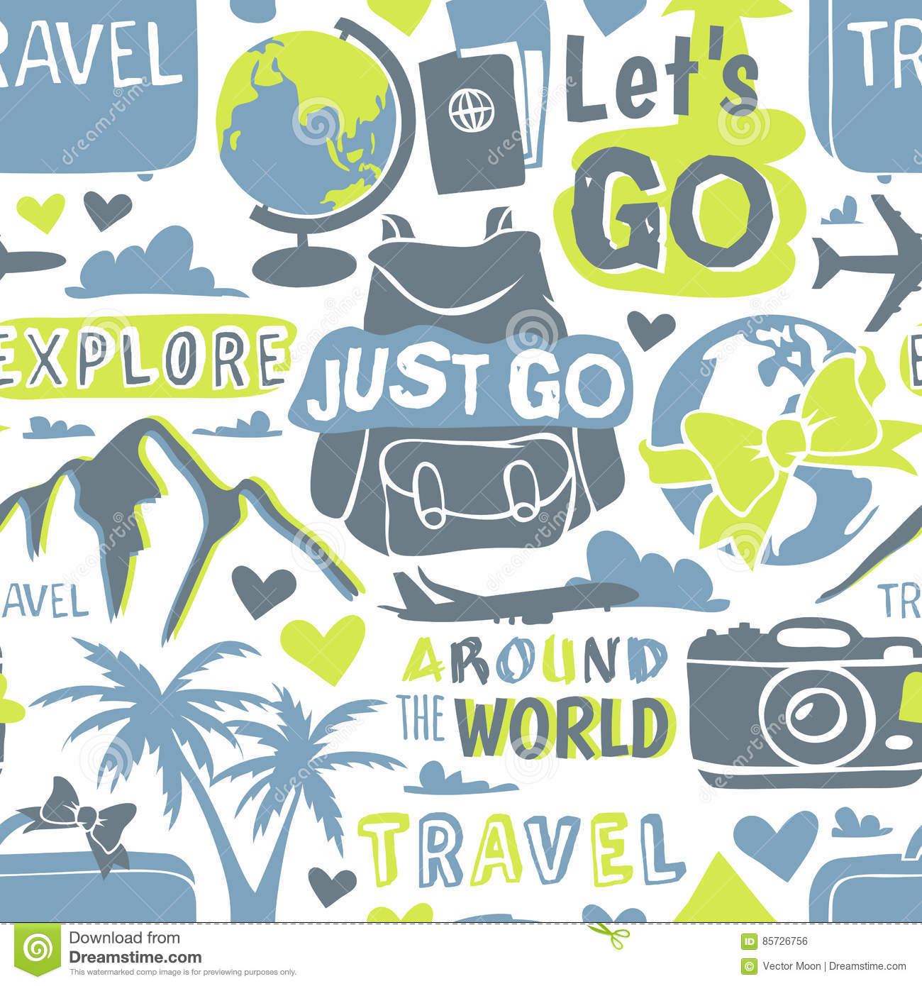 travel theme seamless pattern with modern graphic vector
