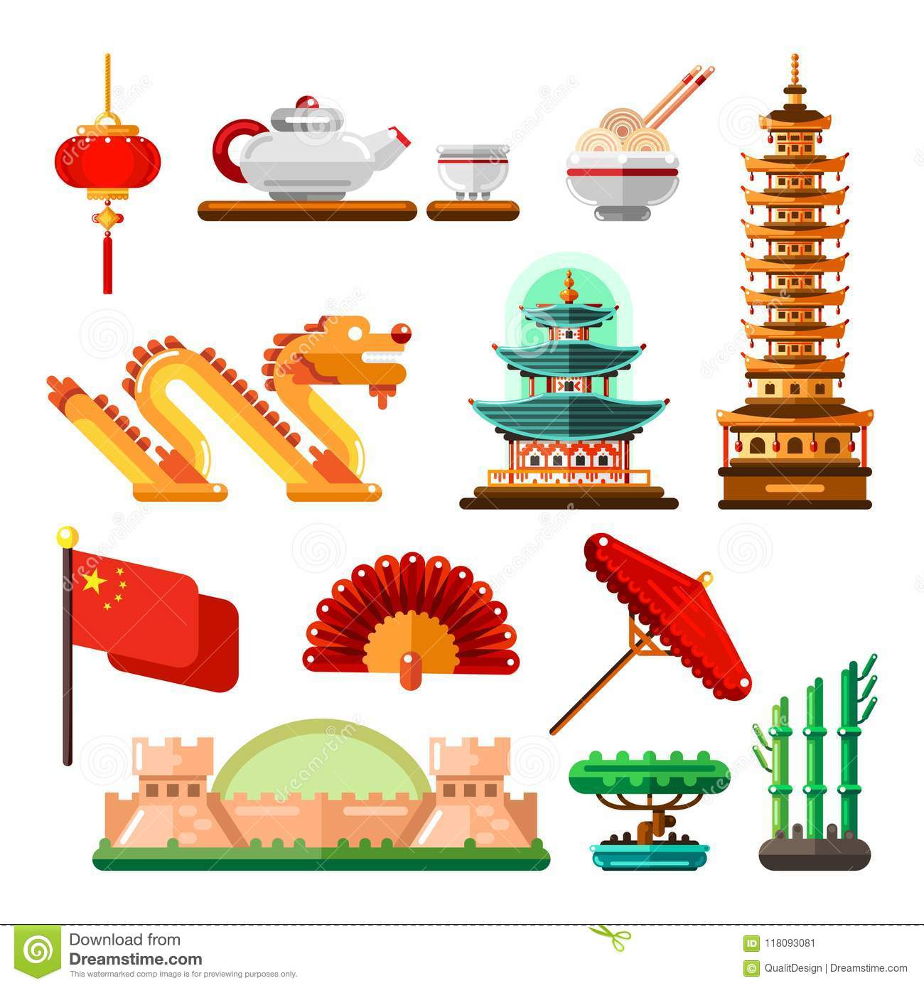 Travel To Asia China Icons And Isolated Design Elements Set Vector